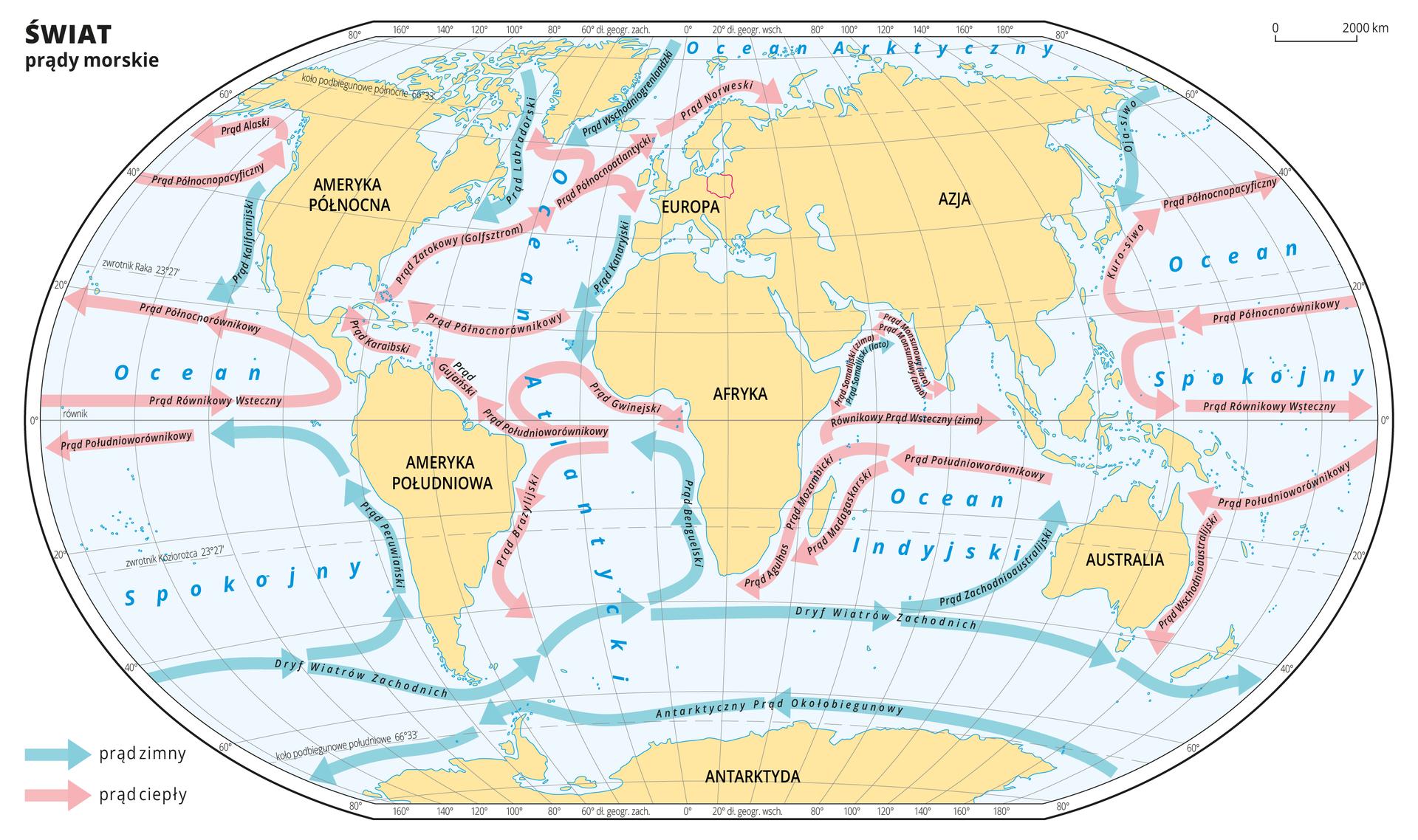 Ilustracja przedstawia mapę świata. Opisano kontynenty ioceany. Wody zaznaczono kolorem niebieskim. Na mapie wobrębie mórz ioceanów zaznaczono niebieskimi strzałkami zimne prądy morskie, aczerwonymi strzałkami ciepłe prądy morskie. Na strzałkach zapisano nazwy prądów. Większość czerwonych strzałek przebiega równoleżnikowo wokolicach równika iwzdłuż zwrotnika Raka, zmieniając kierunek uwybrzeży kontynentów. Większość strzałek niebieskich przebiega na obszarze półkuli południowej, skierowane są zzachodu na wschód izmieniają kierunek wkierunku północnym uwybrzeży kontynentów. Wzdłuż wybrzeży Ameryki Północnej, Grenlandii, Europy Zachodniej iAzji Wschodniej zkierunku północnego płyną zimne prądy morskie wkierunku południowym. Mapa pokryta jest równoleżnikami ipołudnikami. Dookoła mapy wbiałej ramce opisano współrzędne geograficzne co dwadzieścia stopni. Wlegendzie umieszczono opisane strzałki – niebieską dla prądów zimnych iczerwoną dla prądów ciepłych.