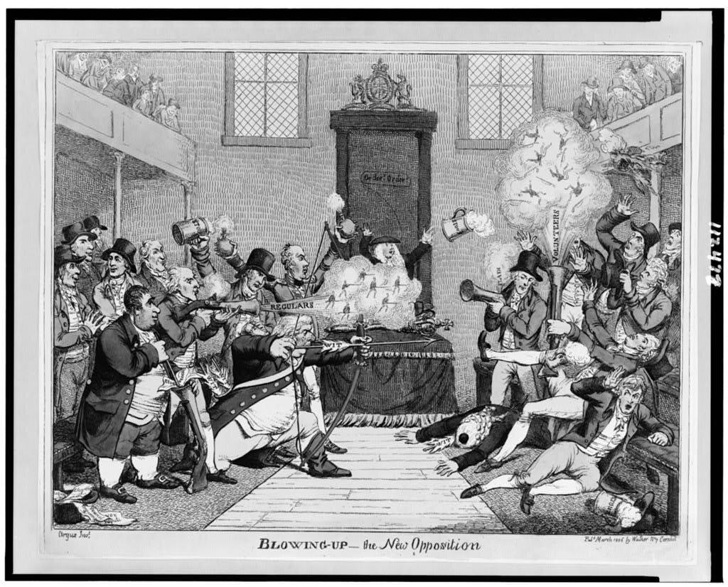 Wysadzenie nowej opozycji Nie zgadzają się na uchwalenie niekorzystnego dla nich prawa. Źródło: Wysadzenie nowej opozycji, 1806, domena publiczna.