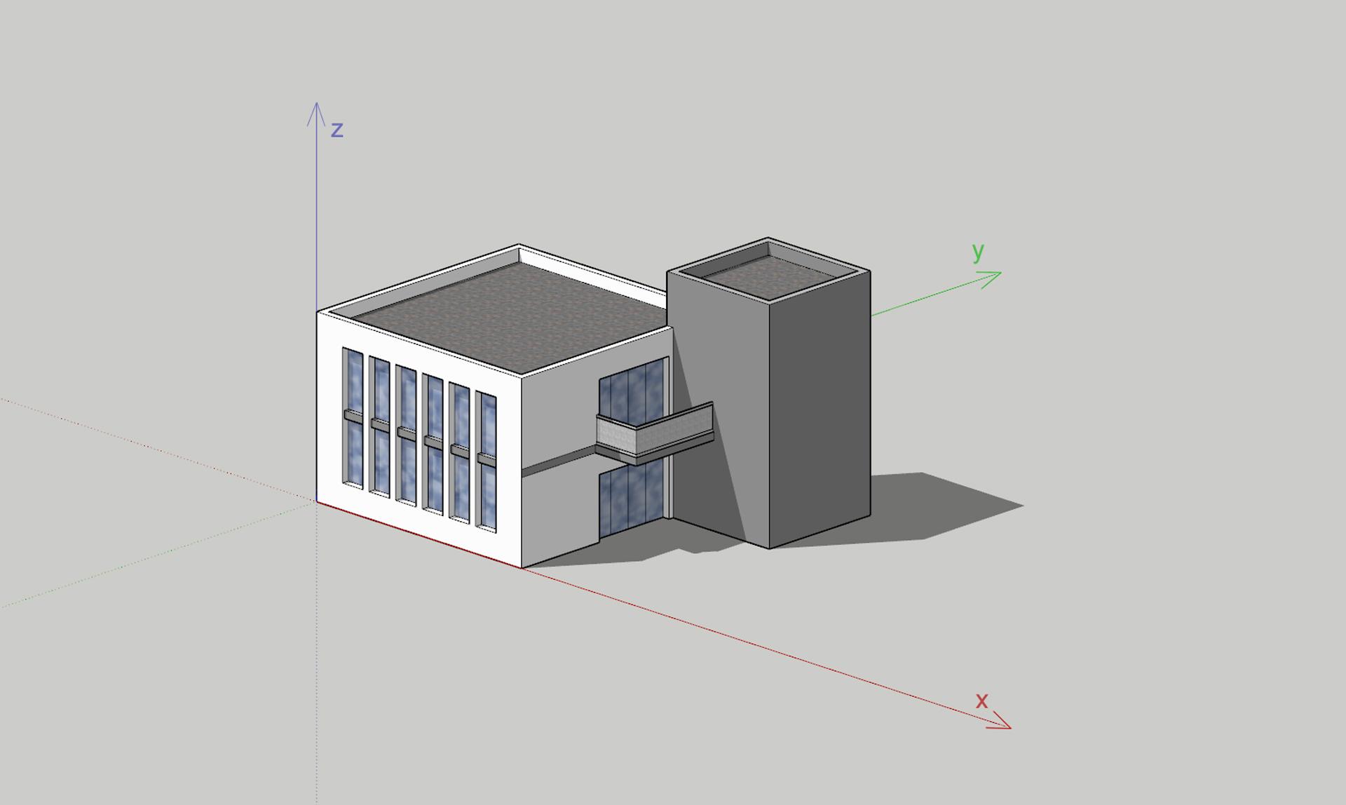 Ilustracja przedstawia komputerowy rysunek przestrzenny, wykonany wrzutach aksonometrycznych, ukazujący budynek złożony zdwóch brył prostopadłościanów. Rysunek został wykonany na podstawie kierunków, wytyczonych przez osie współrzędne. Po lewej znajduje się biały budynek zwysokimi okami ipłaskim, szarym dachem. Do niego przystaje wyższy, szary budynek bez okien.