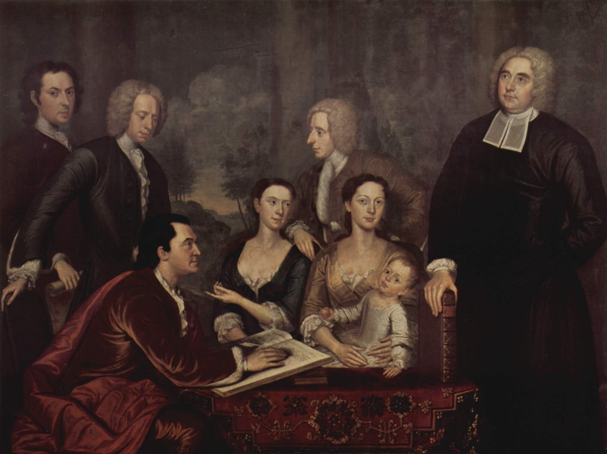 Rodzina George'a Berkleya Irlandzki filozof George Berkeley zrodziną Źródło: John Smibert, Rodzina George'a Berkleya, ok. 1730, olej na płótnie, Yale University Art Gallery, domena publiczna.