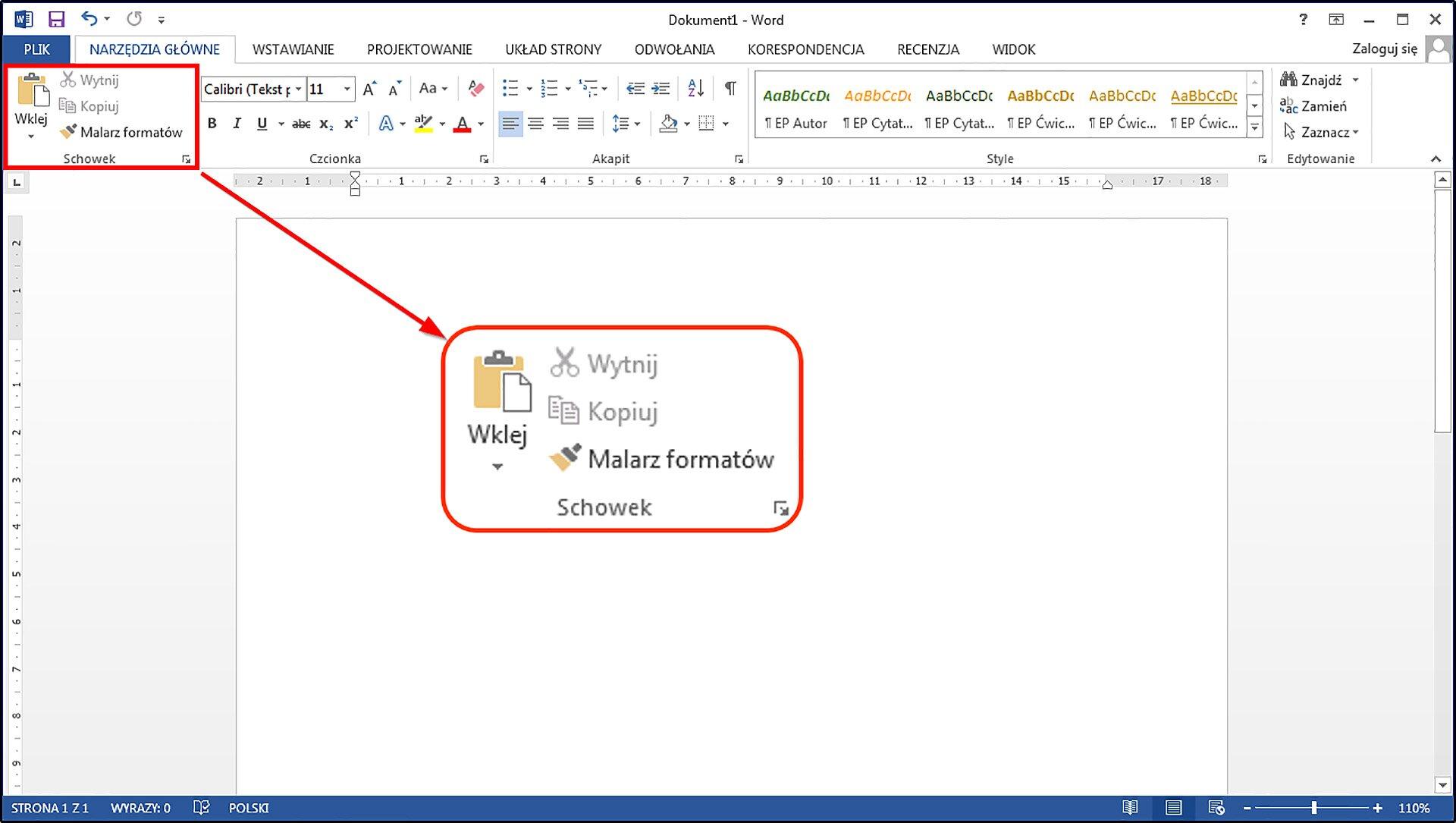 Slajd 1 galerii zrzutów okien przykładowych edytorów tekstu zzaznaczonymi narzędziami Wytnij, Kopiuj, Wklej