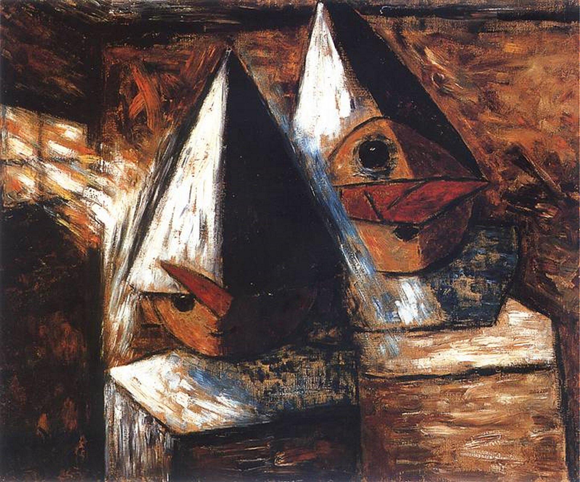 """Ilustracja przedstawia obraz pt. """"Mali Pierroci"""" autorstwa Tadeusza Makowskiego. Dzieło ukazuje dwie przebrane postacie wwysokich, szpiczastych kapeluszach."""