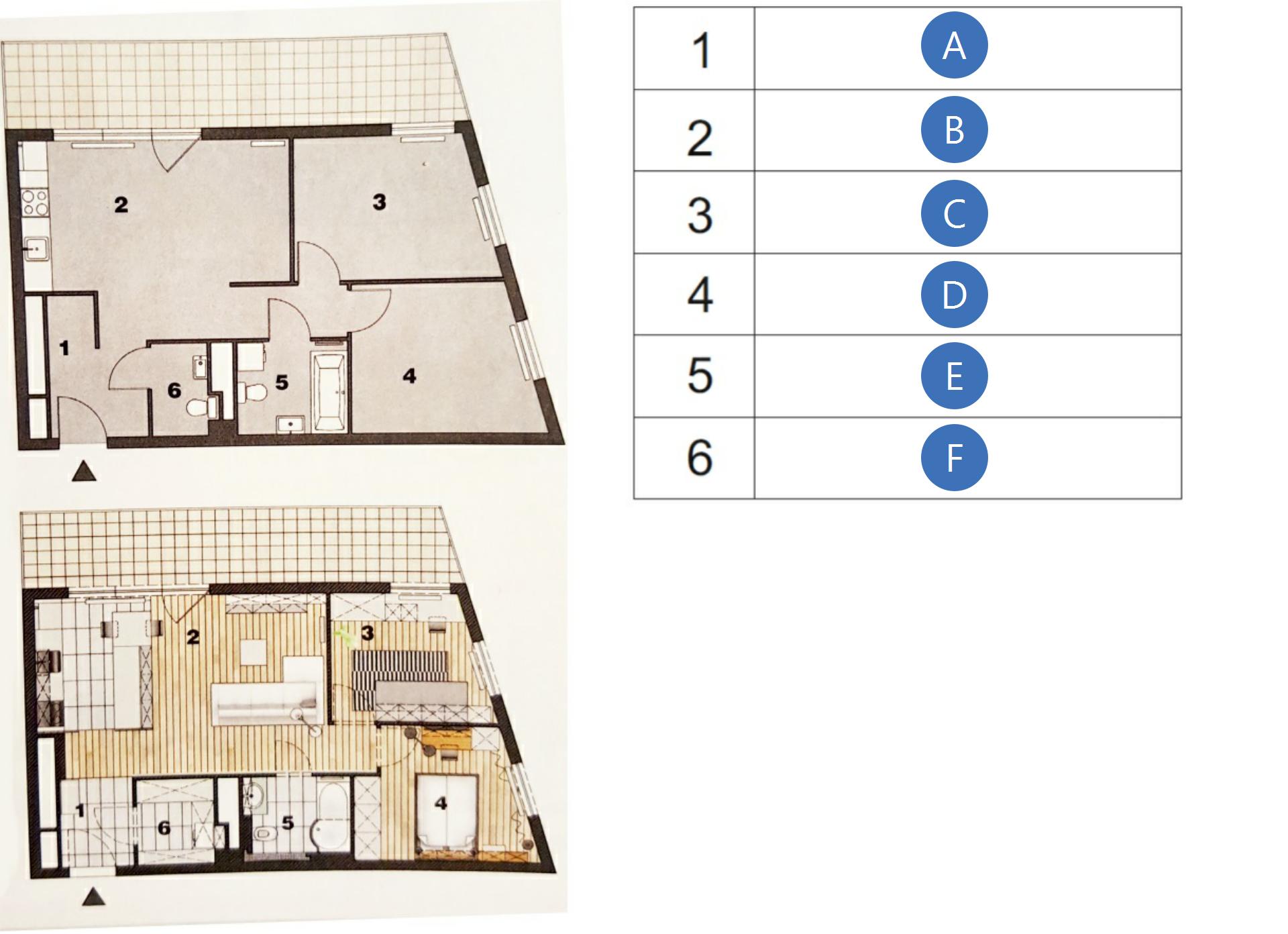 Pierwsza ilustracja przedstawia rzut na plan mieszkania bez wyraźnie zaznaczonych przedmiotów. Druga ilustracja przedstawia rzut na plan mieszkania po nowej adaptacji. Widać zaznaczone numerami pomieszczenia zzaznaczonymi przedmiotami jakie się wnich znajdują. Numer 1 to pomieszczenie gdzie są drzwi wejściowe idrzwi do innego pomieszczenia. Numer 2 to największe zpomieszczeń na którym zaprojektowano elementy kuchenne oraz ustawiono sofę istolik. Numer 3 to pokój zkanapą ibiurkiem. Numer 4 to pomieszczenie wktórym jest duże łóżko. Numer 5 to pomieszczenie gdzie jest toaleta, zlew iprysznic. Numer 6 to pomieszczenie zmiejscem na szafę lub regały.