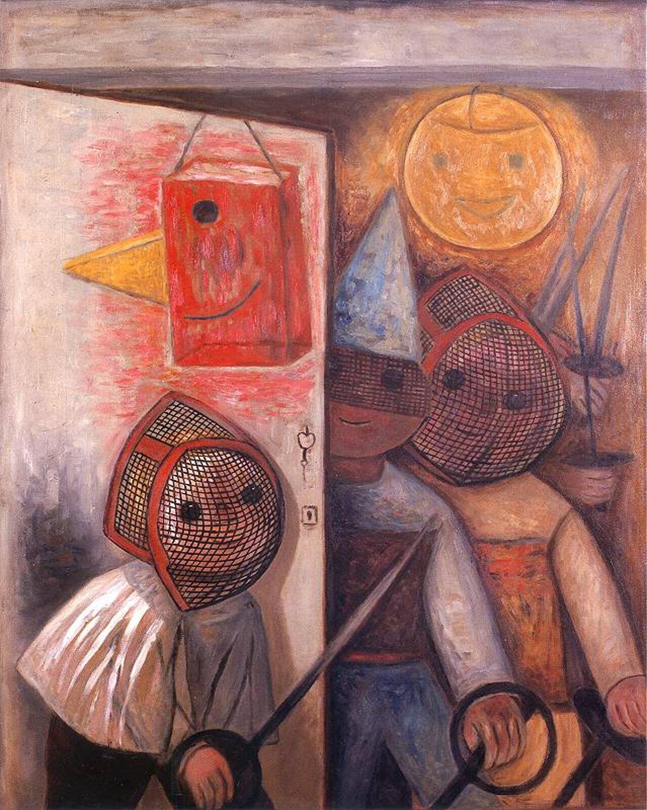 """Ilustracja przedstawia obraz pt. """"Szermierze"""" autorstwa Tadeusza Makowskiego. Dzieło ukazuje trzy postaci, które przebrane są wszermierzy. Mają metalowe siatki na głowie (kaski) oraz szable wdłoniach."""
