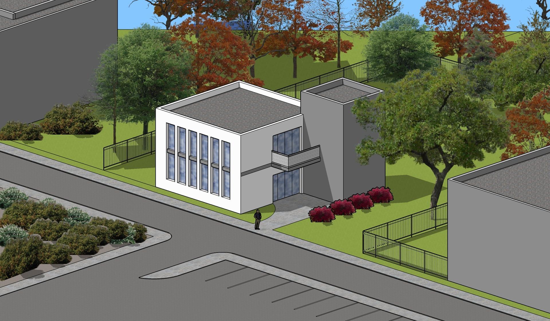 Ilustracja przedstawia komputerowy rysunek przestrzenny, ukazujący budynek złożony zdwóch brył prostopadłościanów. Obiekty usytuowane są przy ulicy, wotoczeniu trawników idrzew. Po lewej znajduje się biały budynek zwysokimi okami ipłaskim, szarym dachem. Do niego przystaje wyższy, szary budynek bez okien. Wpobliżu znajdują się fragmenty innych zabudowań.