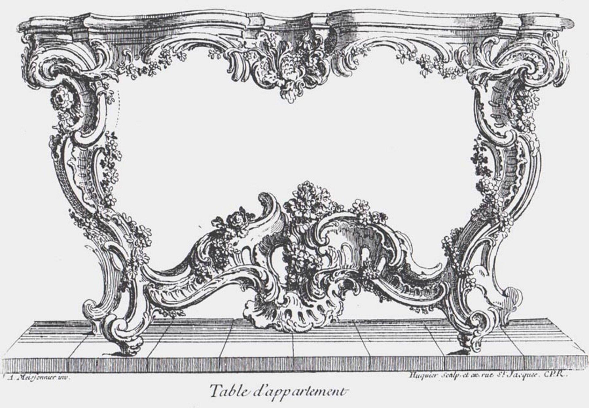 Ilustracja przedstawia projekt stolika narysowany przez Juste Aurèle Meissoniera. Szkic jest czarno-biały, widać na nim nieprzeciętny stolik, uwage wzbudza duża ilość drobnych detali oraz lekka budowa stolika, jest on powyginany wwiele stron. Projekt stanowi jednolitą symetryczną całość.