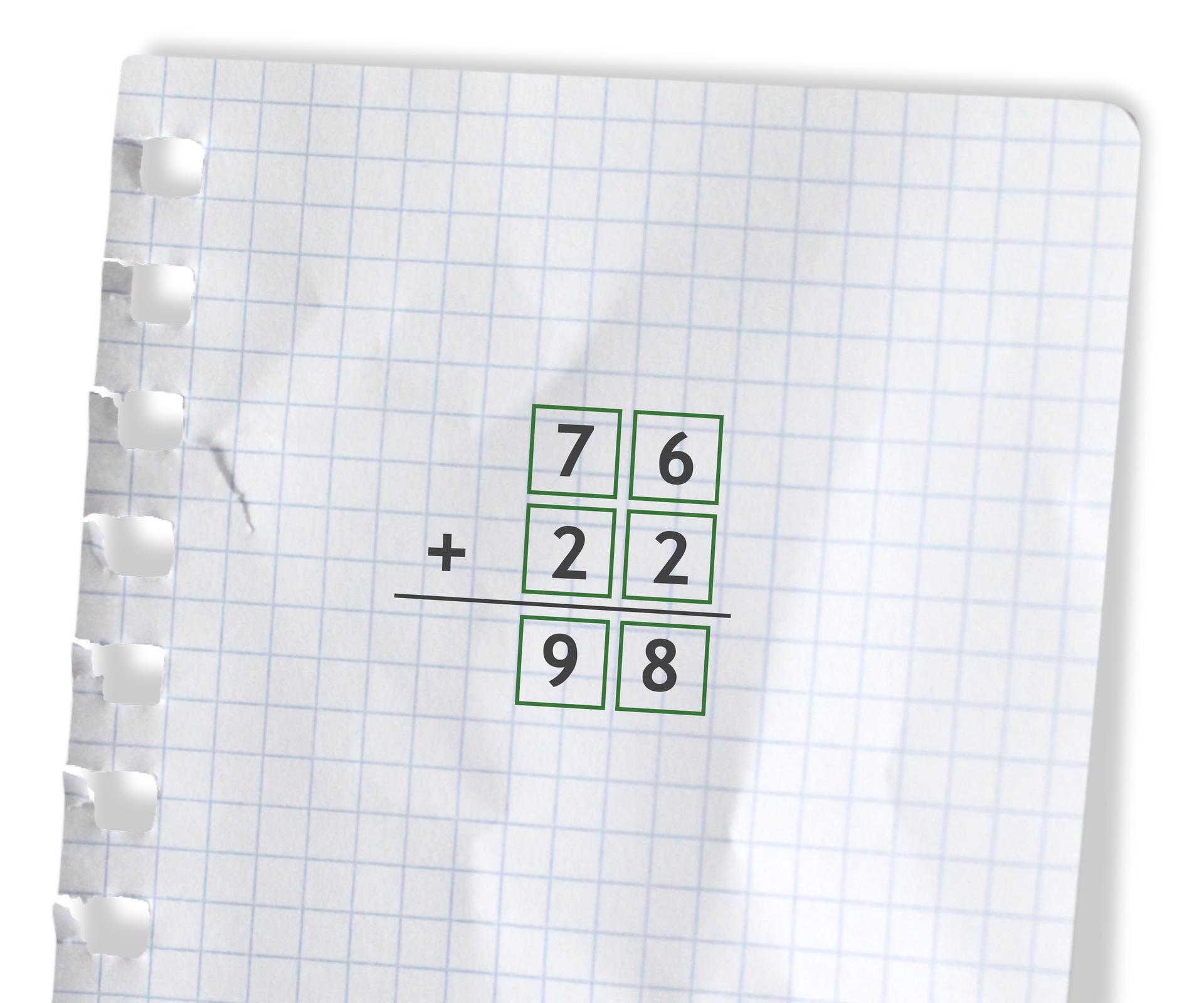 Przykład: 76 +22 =98. Rozwiązanie zadania podpunkt b.