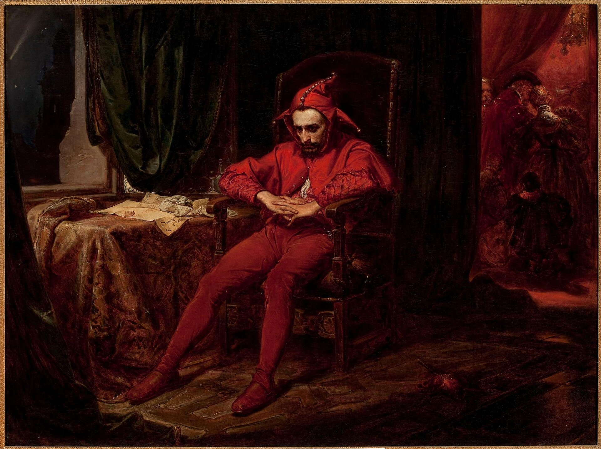 """Ilustracja przedstawia obraz """"Stańczyk"""" autorstwa Jana Matejki. Wcentrum dzieła znajduje się ubrany na czerwono błazen zasiadający na dużym, drewnianym krześle zrzeźbionymi zdobieniami. Postać siedzi luźno zwyciągniętymi nogami iopartymi na podłokietnikach rękami. Dłonie ma splecione przed sobą. Na głowę Stańczyka zaciągnięty jest kaptur ztrzema rogami idzwoneczkami. Cała sylwetka ukazuje zwątpienie. Spuszczona głowa, zamyślona, spoglądająca przed siebie wciemność twarz wyraża smutek. Dobrze oświetlona postać znajduje się wciemnej komnacie, której ściany pokrywają ciemno-zielone, ciężkie kotary. Po lewej stronie, przy oknie stoi stół pokryty kolorową draperią. Na stole leżą rozłożone dokumenty. Wgłębi kadru, po prawej stronie ukazane jest na czerwono oświetlone wnętrze, pełne bawiących się ludzi. Dzieło utrzymane jest wwąskiej gamie barwnej ciemnych brązów izieleni zakcentami gorących czerwieni."""