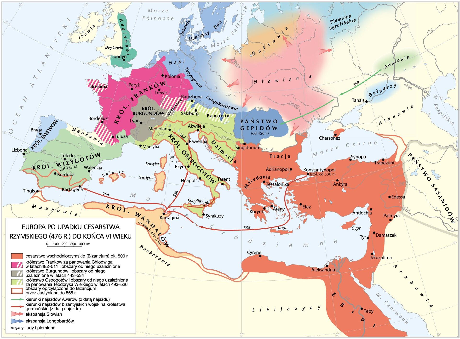 Europa po upadku cesarstwa rzymskiego Europa po upadku cesarstwa rzymskiego Źródło: Krystian Chariza izespół.