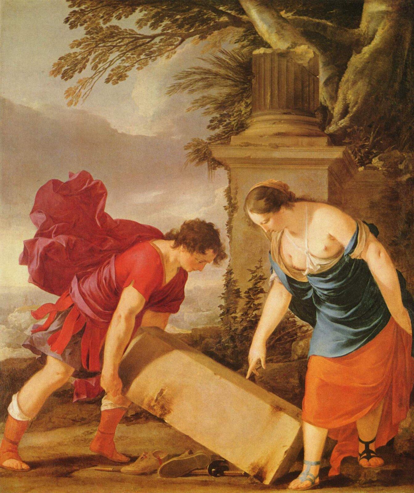 Tezeusz iAjtra Źródło: Laurent de La Hyre, Tezeusz iAjtra, ok. 1635–1636, olej na płótnie, Muzeum Sztuk Pięknych, Budapeszt, Węgry, domena publiczna.