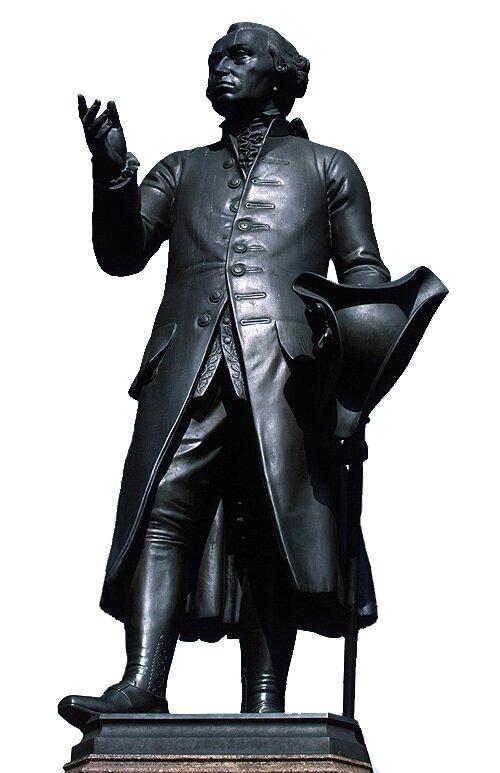 Pomnikniemieckiego filozofa Immanuela Kanta postawiono wKrólewcu (obecna nazwa: Kaliningrad), gdzie Kantspędził całe życie. Właśnie Kant rozpropagował nazwę epoki dzięki rozprawie Co to jest Oświecenie? (Beantwortung der Frage: Was ist Aufklärung?). Pomnikniemieckiego filozofa Immanuela Kanta postawiono wKrólewcu (obecna nazwa: Kaliningrad), gdzie Kantspędził całe życie. Właśnie Kant rozpropagował nazwę epoki dzięki rozprawie Co to jest Oświecenie? (Beantwortung der Frage: Was ist Aufklärung?). Źródło: Harald Haacke (replika), Christian Daniel Rauch (oryginał), domena publiczna.