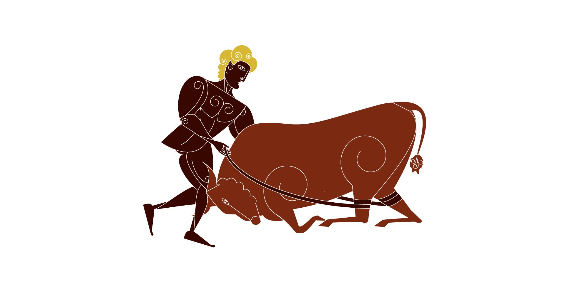 Herakles miał ujarzmić wielkiego byka zKrety, na którego bogowie zesłali szał izktórego nozdrzy buchał ogień, anastępnie żywego dostarczyć do Grecji. Herakles pojmał zwierzę iwdrodze powrotnej przeprawił się przez morze na jego grzbiecie Herakles miał ujarzmić wielkiego byka zKrety, na którego bogowie zesłali szał izktórego nozdrzy buchał ogień, anastępnie żywego dostarczyć do Grecji. Herakles pojmał zwierzę iwdrodze powrotnej przeprawił się przez morze na jego grzbiecie Źródło: Contentplus.pl sp. zo.o., licencja: CC BY 3.0.