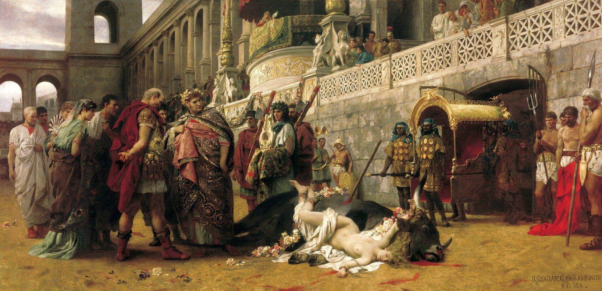 Dirce chrześcijańska Źródło: Henryk Siemiradzki, Dirce chrześcijańska, 1897, olej na płótnie, Muzeum Narodowe wWarszawie.