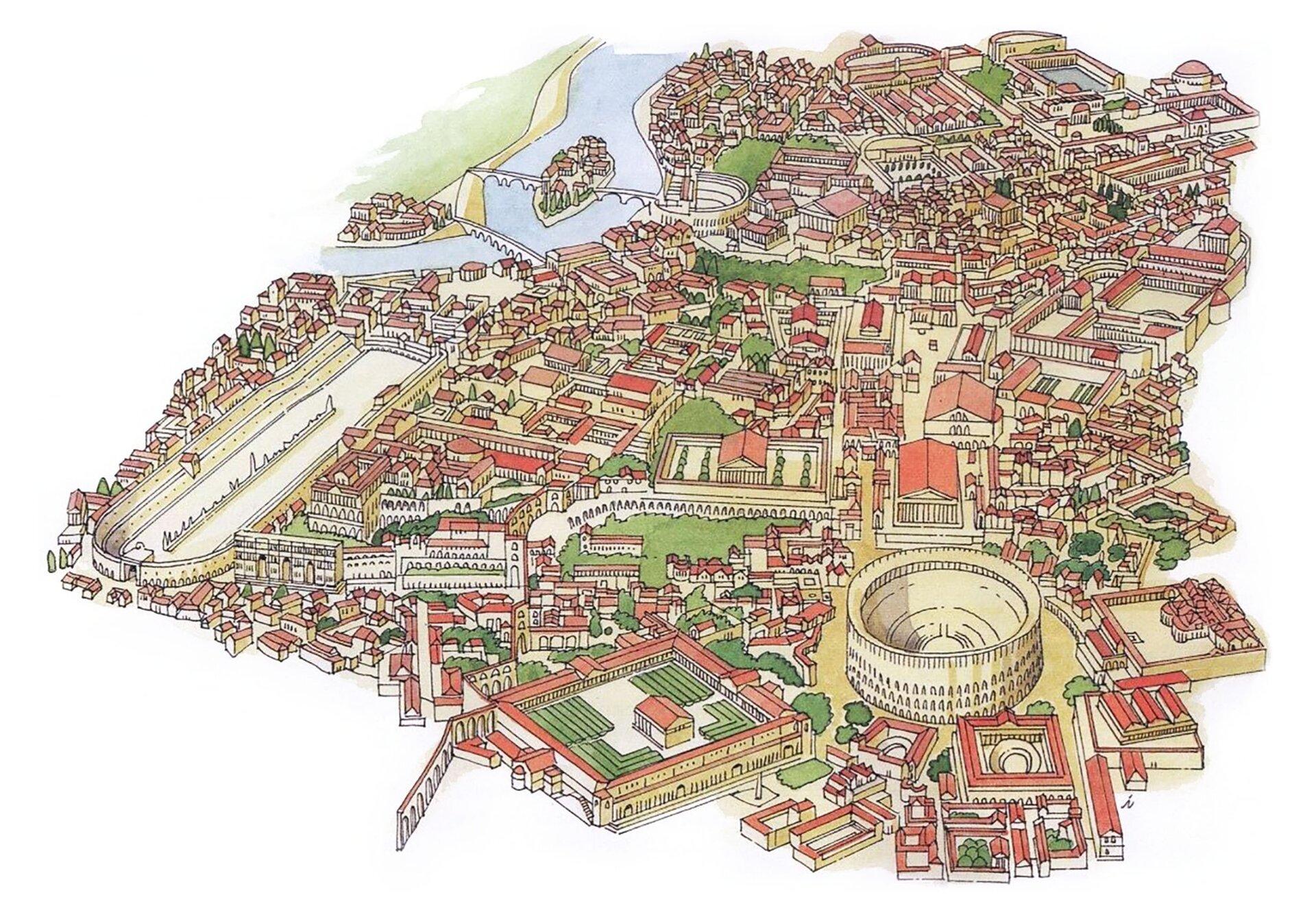 Rekonstrukcja starożytnego Rzymu Rekonstrukcja starożytnego Rzymu Źródło: Woeterman 94, Wikimedia Commons, licencja: CC BY-SA 3.0.