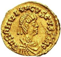Na monecie widnieje wizerunek ostatniego cesarza rzymskiego – Romulusa Augustusa Na monecie widnieje wizerunek ostatniego cesarza rzymskiego – Romulusa Augustusa Źródło: licencja: CC BY 3.0.