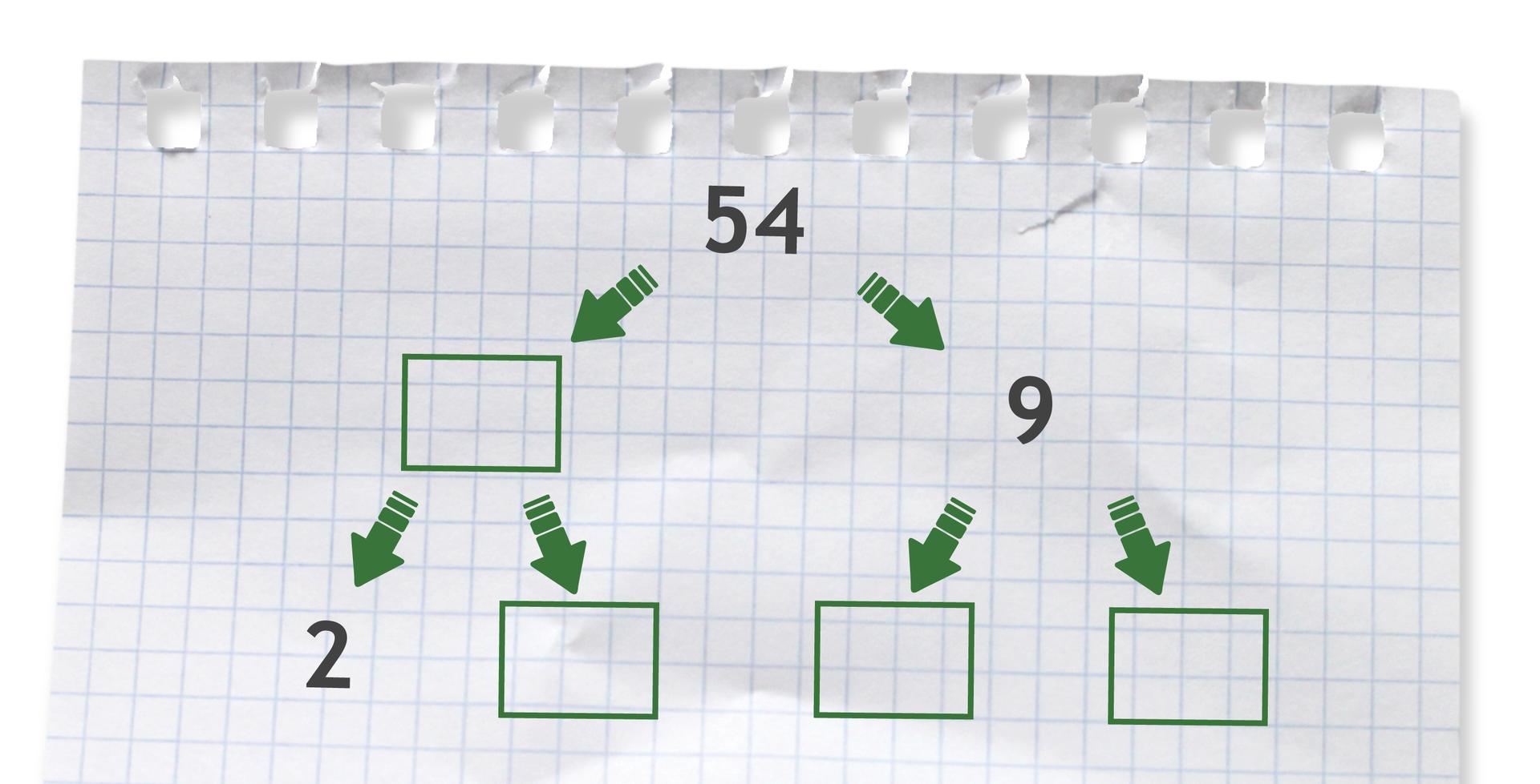 Rysunek drzewka do rozłożenia liczby 54 na czynniki pierwsze.