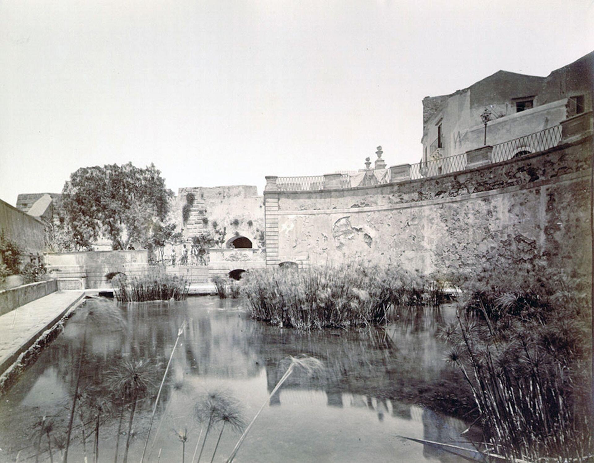 Ilustracja przedstawia źródło Arteuzy, na której znajdują się rośliny wodne. Woddali znajdują się betonowe mury.