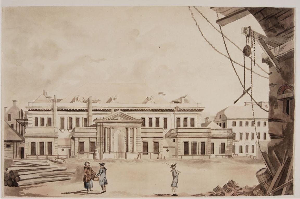 Teatr Narodowy na Placu Krasińskich wWarszawie Źródło: Zygmunt Vogel, Teatr Narodowy na Placu Krasińskich wWarszawie, ok. 1791, akwarela, Muzeum Narodowe wWarszawie, domena publiczna.