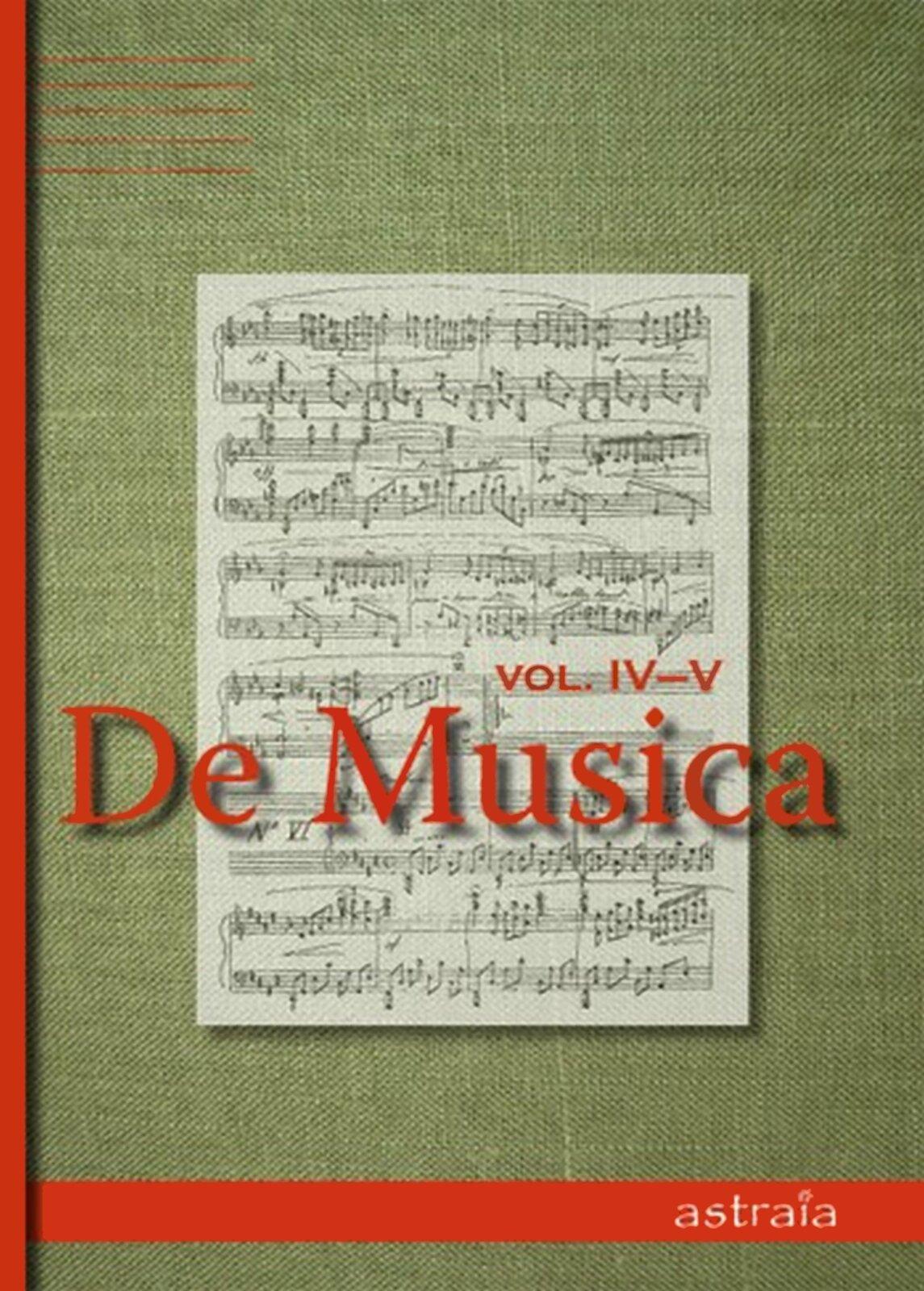 """Ilustracja przedstawia okładkę czasopisma muzycznego """"De Musica"""". Wtle znajduje się karta znutami, na których widnieje tytuł czasopisma."""