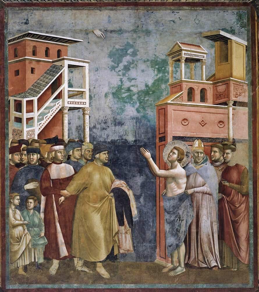 Młody Franciszek oddaje swoje ubranie ojcu Młody Franciszek oddaje swoje ubranie ojcu Źródło: domena publiczna.
