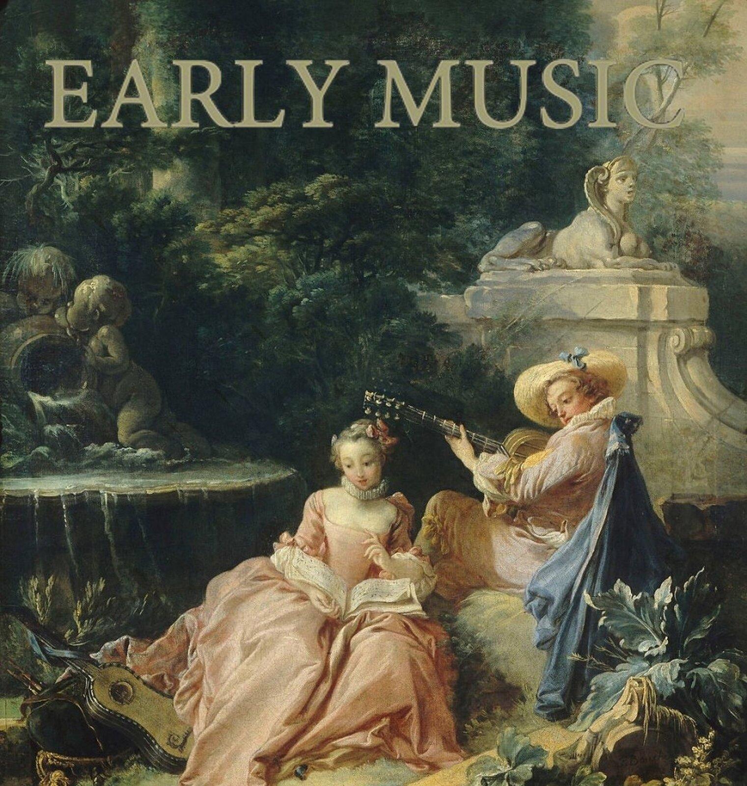 """Ilustracja przedstawia okładkę magazynu """"Early Music"""". Na ilustracji znajdują się dwie postaci. Mężczyzna gra na gitarze, spogląda na kobietę. Ubrany jest wbiały strój iniebieski płaszcz. Na głowie ma jasny kapelusz. Kobieta siedzi niżej od mężczyzny, na kolanach trzyma książkę znutami. Ubrana jest wjasną różową suknię."""