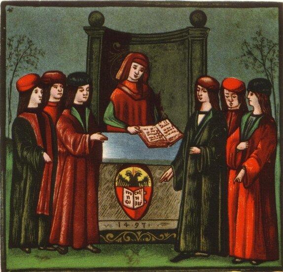 WBolonii powstał w1088 roku pierwszy europejski uniwersytet. Miniatura z1497 r. przedstawia bolońskich studentów. WBolonii powstał w1088 roku pierwszy europejski uniwersytet. Miniatura z1497 r. przedstawia bolońskich studentów. Źródło: 1497, zdjęcie, domena publiczna.