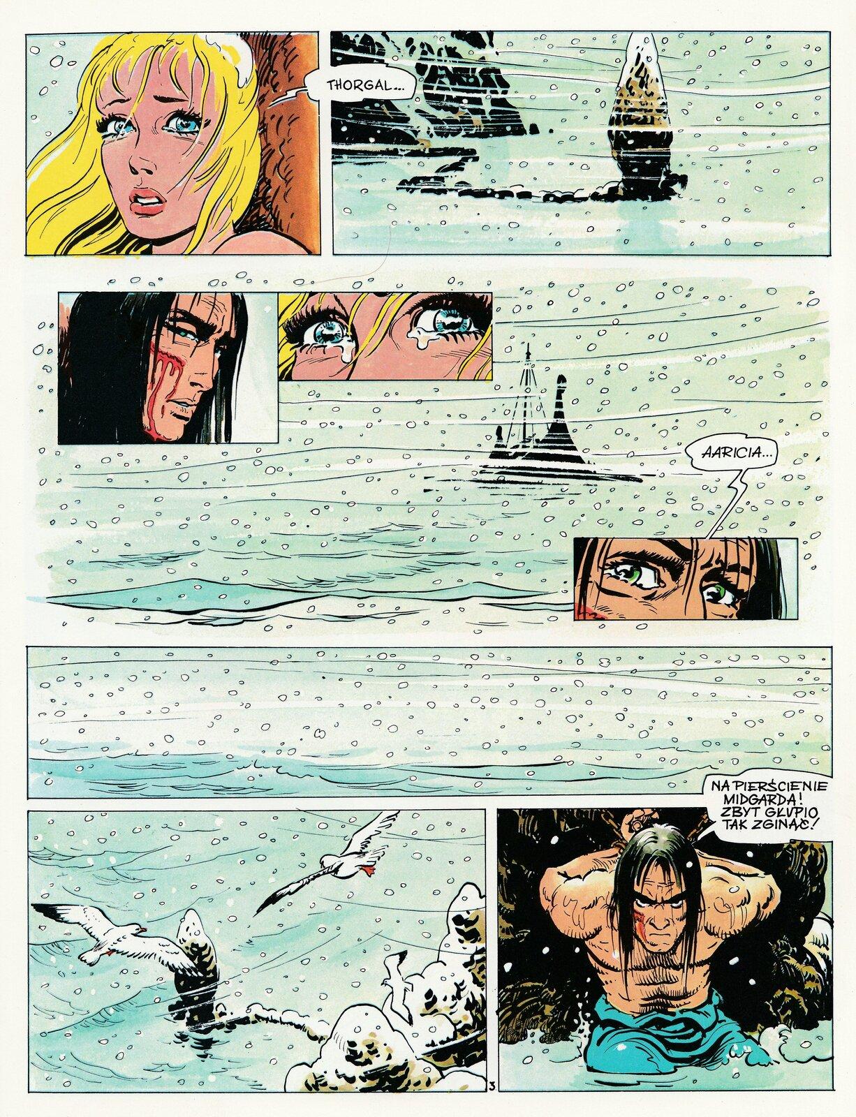 """Ilustracja przedstawia stronę zkomiksu """"Thorgal. Zdradzona czarodziejka"""". Ukazuje sześć rysunków. Na pierwszym znajduje się zapłakana kobieta oblond włosach która wypowiada imię Thorgala. Drugi przedstawia śnieżycę. Na trzecim, na tle śnieżycy są trzy ujęcia bohaterów: zakrwawionego Thorgala, zapłakanych oczu, iponownie Thorgala wypowiadającego imię dziewczyny Aaricia. Kolejna jest zbliżeniem na padający śnieg. Na przedostatniej ukazany jest widok zgóry na latające mewy. Ostatnia ukazuje klęczącego Thorgala ze związanymi ztyłu rękoma, wypowiadającego słowa: Na pierścienie Mitgarda! Zbyt głupio tak zginąć!"""