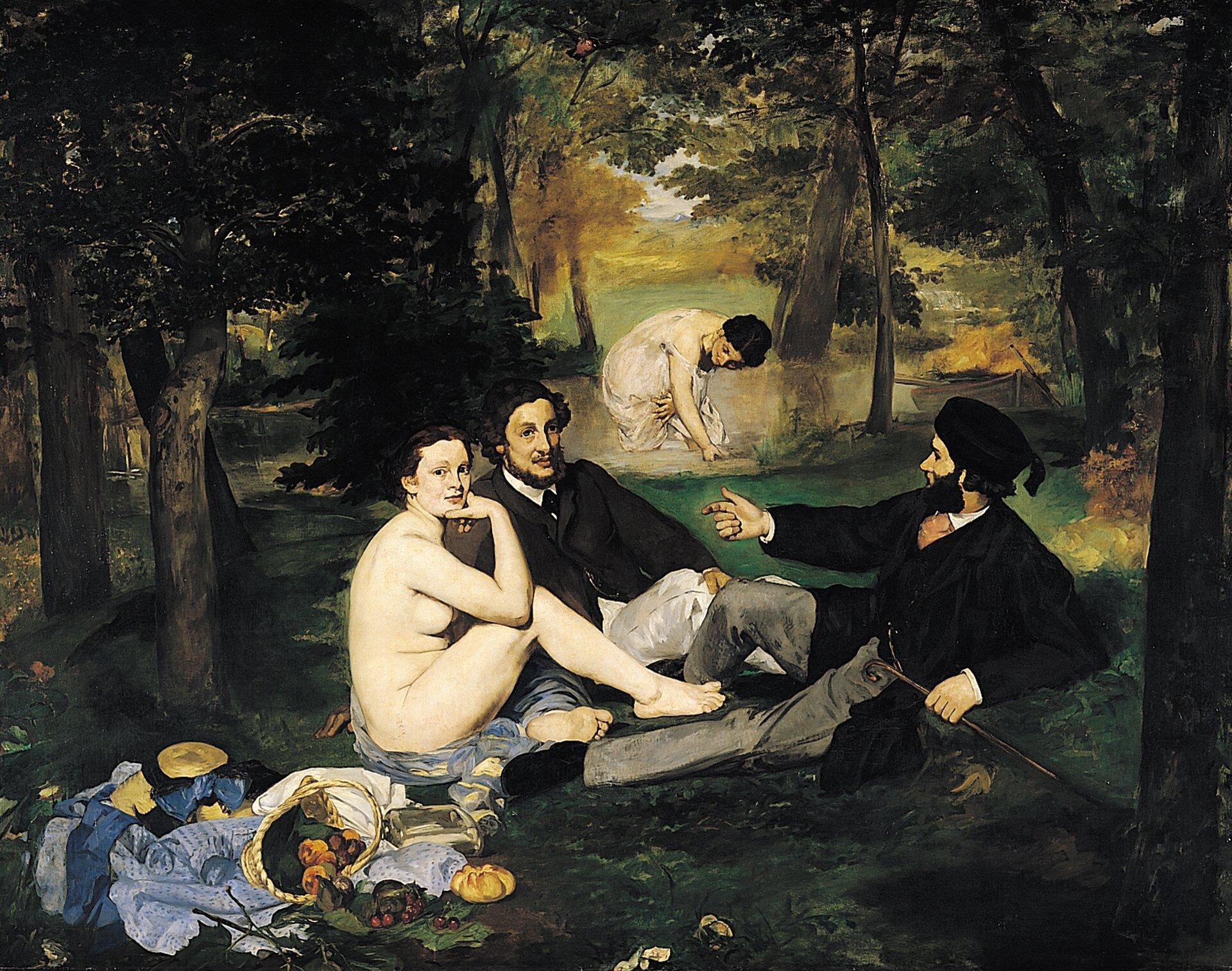 Śniadanie na trawie Źródło: Édouard Manet, Śniadanie na trawie, 1863, olej na płótnie, Musée d'Orsay, Paryż, domena publiczna.