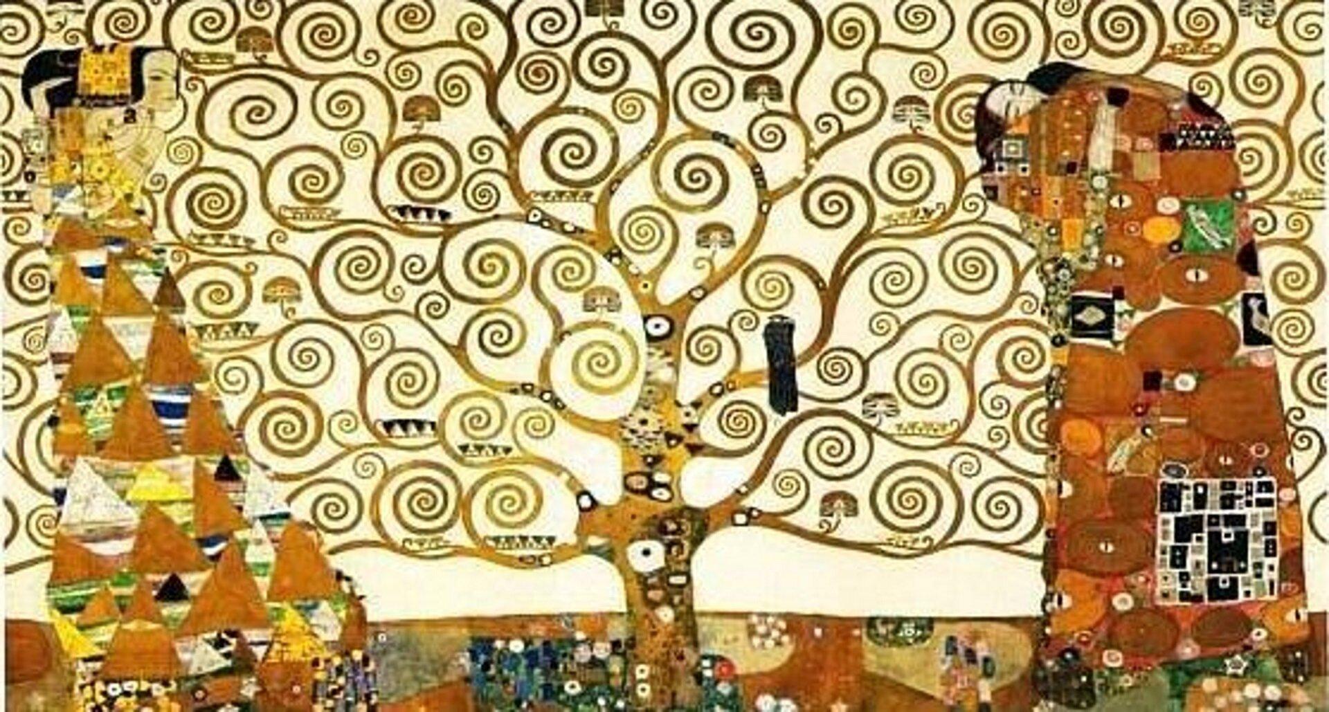 """lustracja przedstawia obraz """"Drzewo życia"""" autorstwa Gustawa Klimta. Obraz ukazuje drzewo stworzone zpołączeniami różnych wzorów. Po dokładnym przyjrzeniu się można dostrzec postacie ludzi po prawej ilewej stronie."""