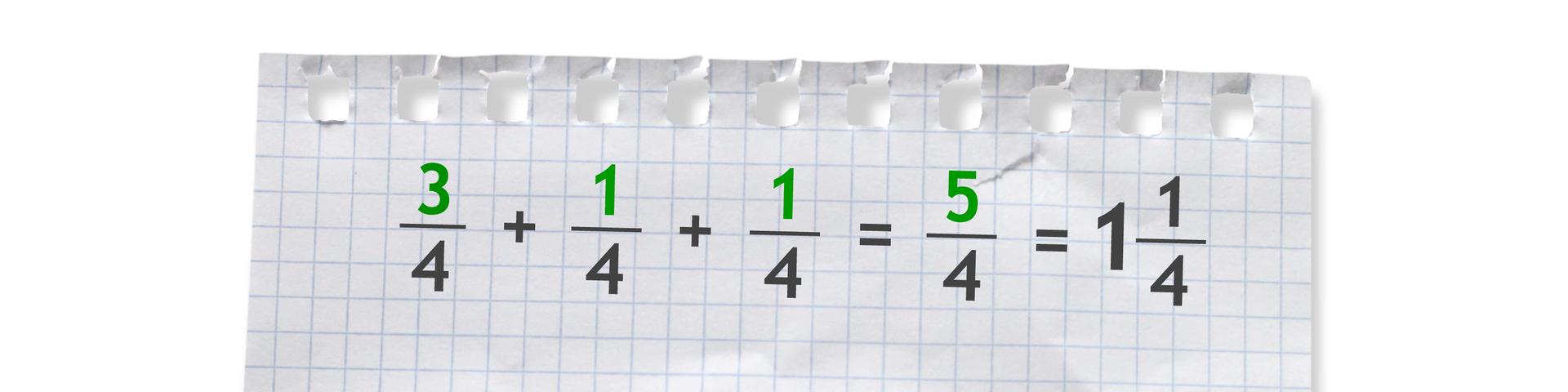 Przykład: trzy czwarte plus jedna czwarta plus jedna czwarta równa się pięć czwartych równa się jedna cała ijedna czwarta.