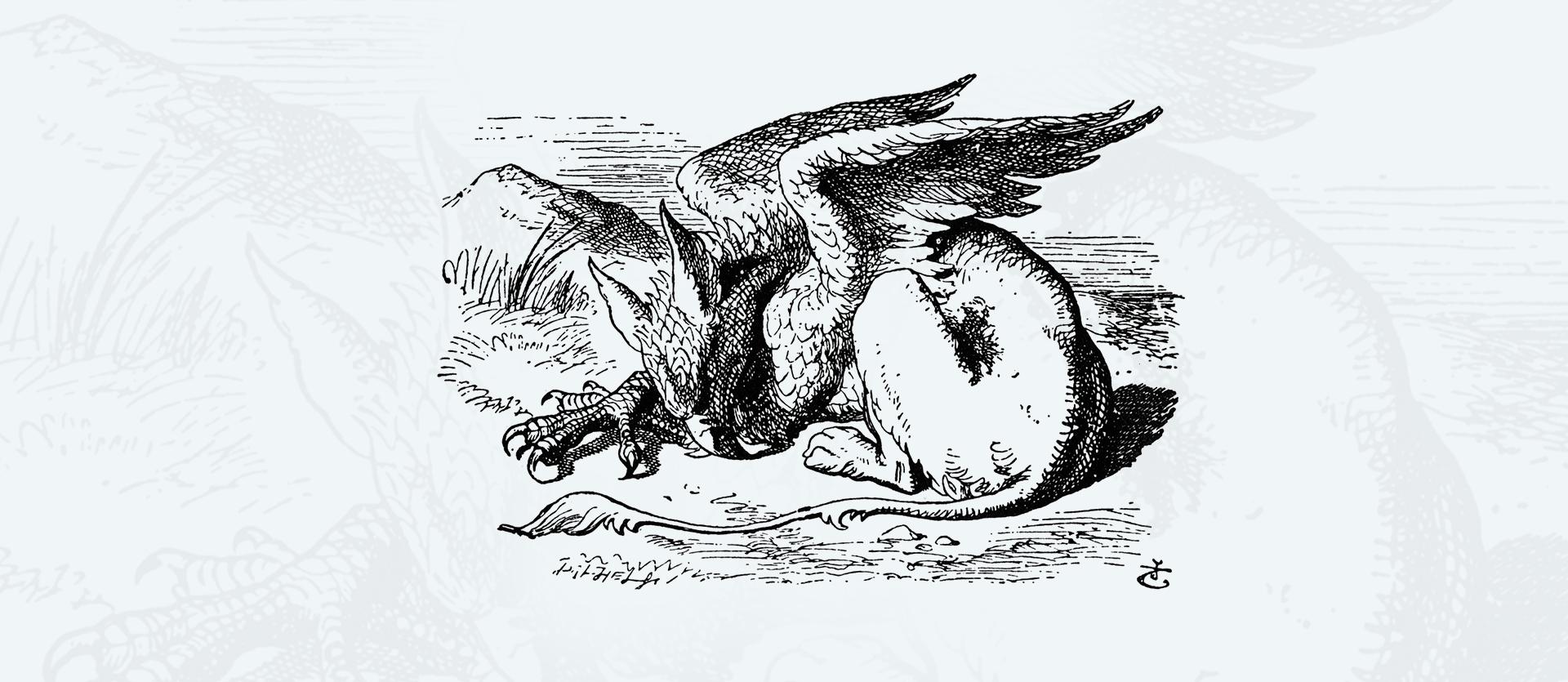 Śpiący Gryfon Śpiący Gryfon Źródło: John Tenniel, rysunek tuszem, domena publiczna.