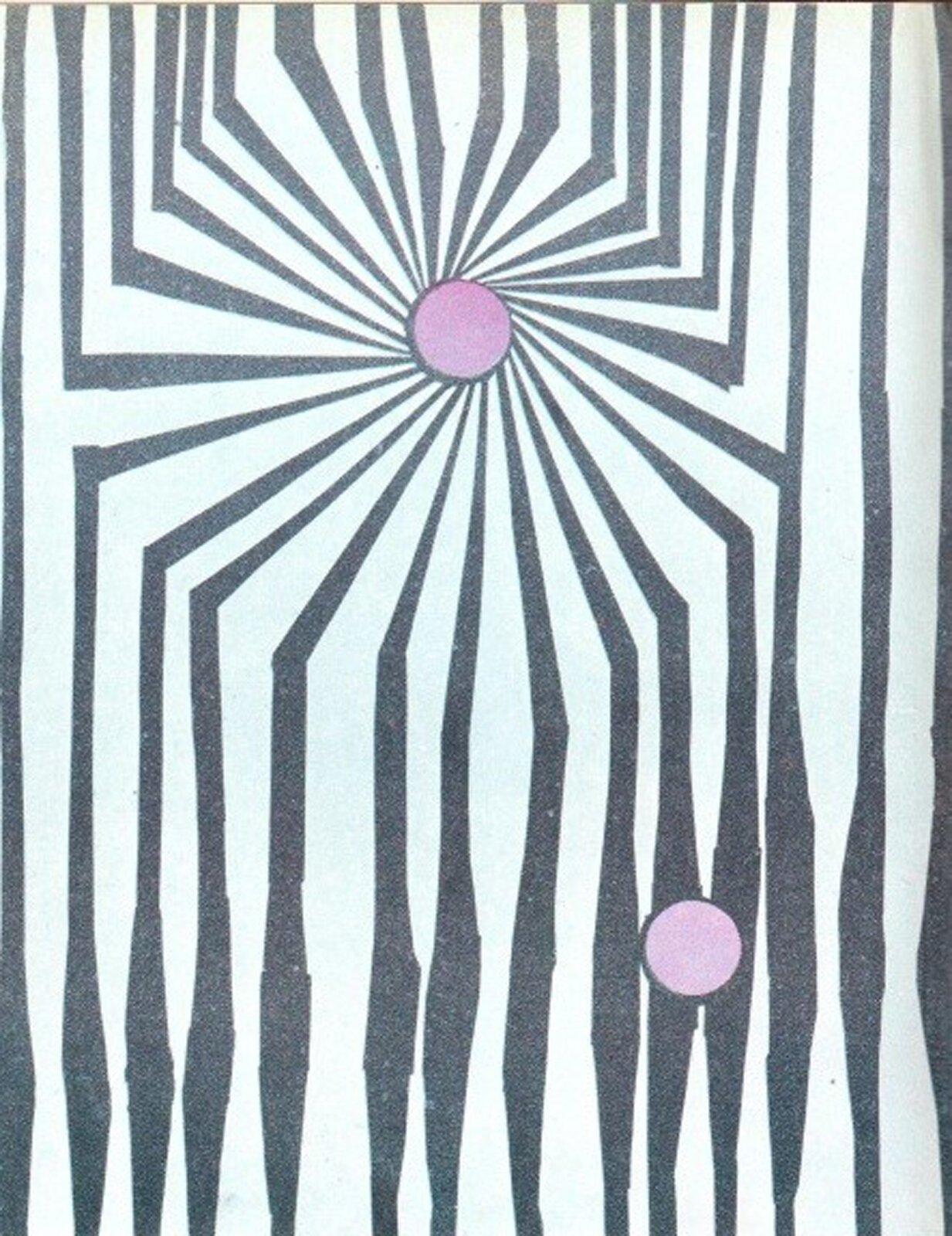 Ilustracja przedstawia dwa małe kółka, które są umieszczone na innym tle. Od jednego kółka odchodzą promieniście linie, które stają się coraz szersze. Drugie kółko jest położone na grubych liniach.