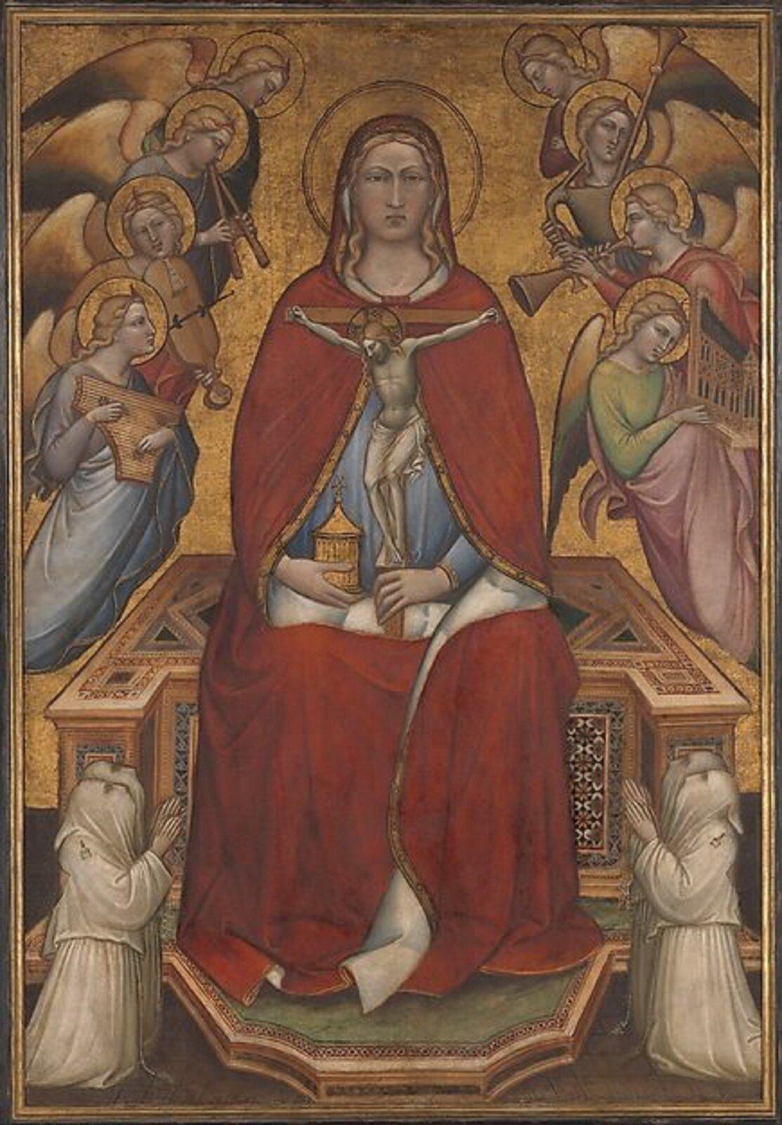 """Ilustracja przedstawia obraz Spinella Aretina """"Święta Maria Magdalena trzymająca krucyfiks"""". Wcentralnej części obrazu na tronie siedzi Maria Magdalena. Wlewej ręce trzyma krucyfiks, awprawej dekoracyjne naczynie. Ujej stóp klęczą małe postacie zakonników wbiałych szatach. Po bokach unoszą się dwie grupy aniołów igrają na różnych instrumentach. Tło jest złocone. Obraz jest symetryczny."""