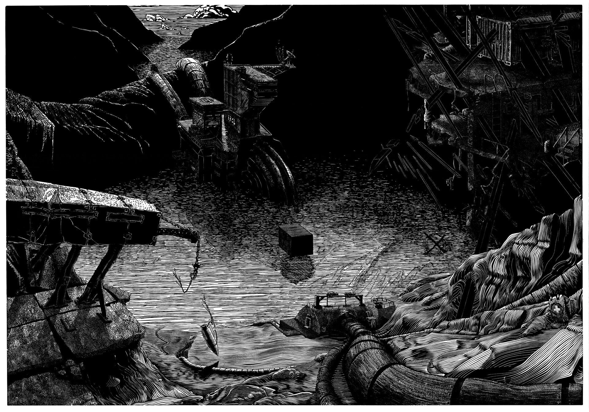 """Ilustracja przedstawia linoryt """"Jezioro"""" autorstwa Jakuba Jaszewskiego. Czarno-biała, mroczna grafika ukazuje fantastyczny krajobraz ztaflą jeziora pośrodku pofalowanych zboczy gór, na których rozmieszczono różnego rodzaju budowle przywodzące na myśl świat science fiction. Nad jeziorem unosi się mały, czarny sześcian. Achromatyczna, czarno-biała grafika, wykonana została zdużą dbałością okażdy detal za pomocą drobnych linii."""