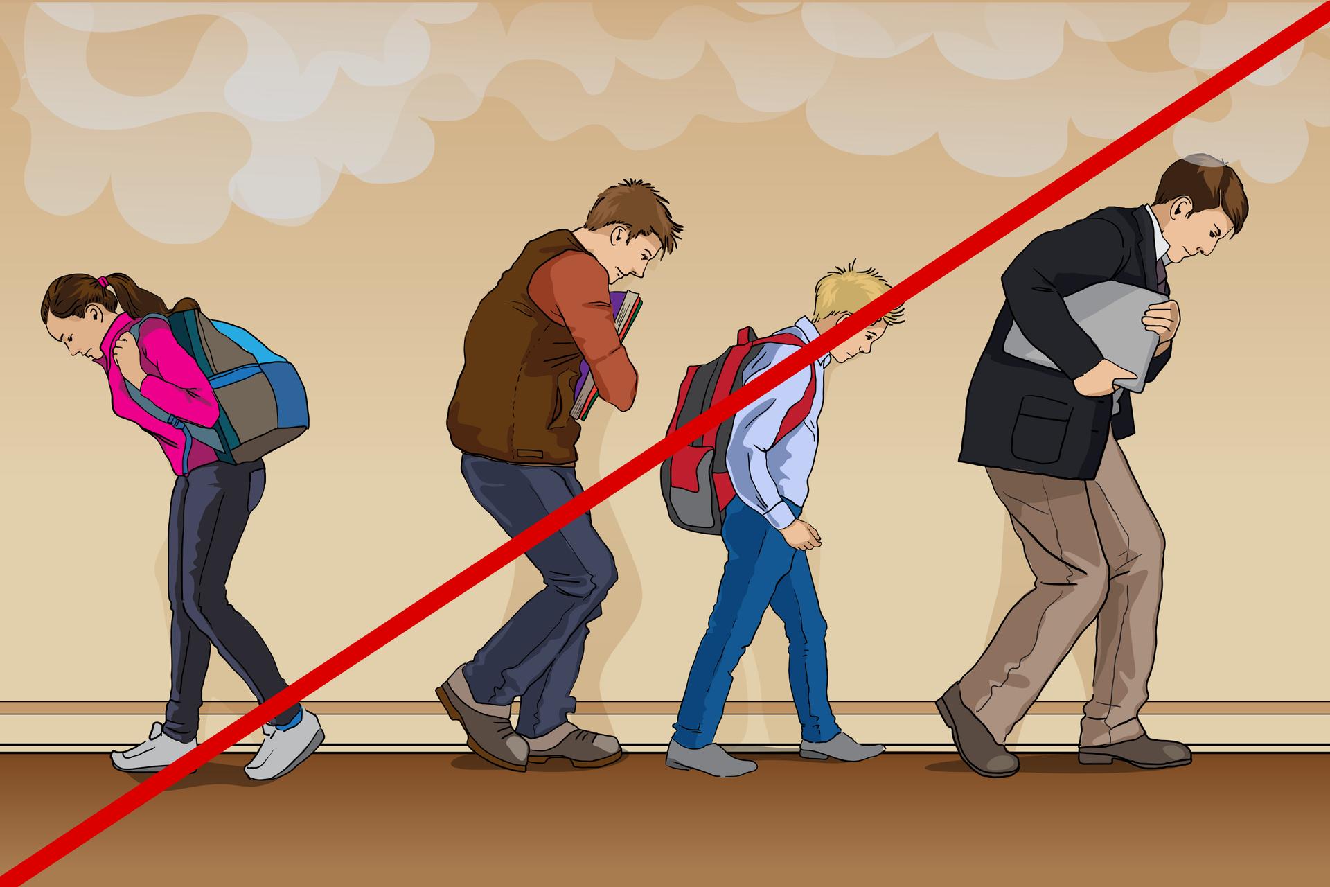Rysunek podobny do zamieszczonego powyżej. Różnica polega na tym, że grupę uczniów prowadzi osoba wyraźnie starsza, wmarynarce izteczką pod pachą, awięc nauczyciel. Zkolei dziewczyna, która na poprzedniej ilustracji zamykała pochód, tutaj jest odwrócona iidzie winnym kierunku. Rysunek jest przekreślony czerwoną kreską na znak, że wtej sytuacji jest to postępowanie niedopuszczalne. Od momentu rozpoczęcia ewakuacji do jej zakończenia nie należy odłączać się od grupy, ani wykonywać czynności sprzecznych zpoleceniami prowadzącego.