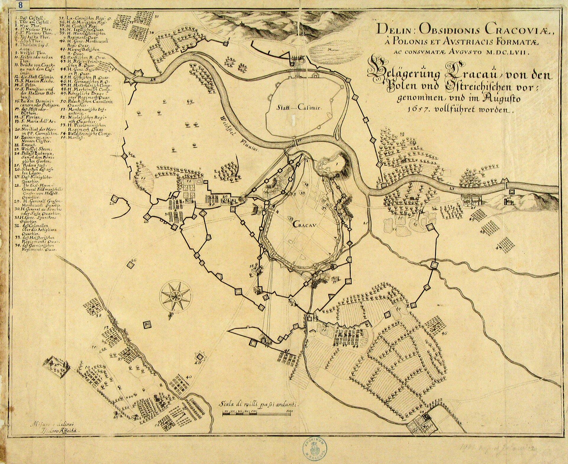 Oblężenie Krakowa w1657 r. Wsierpniu pod Krakowem, zajętym przez wojska szwedzkie isiedmiogrodzkie, stanęła armia cesarska. Wtym samym czasie nadeszły tam ze Lwowa oddziały Lubomirskiego iCzarnieckiego. Gdy sprzymierzone wojska szykowały się do szturmu, do Krakowa nadszedł rozkaz od księcia Rakoczego, oblężonego wtym czasie przez Tatarów, nakazujący Węgrom oddanie Krakowa. Osamotniony inie mający nadziei na odsiecz szwedzki garnizon skapitulował wkońcu sierpnia na honorowych warunkach. Tak zakończyło się oblężenie Krakowa, lecz oswobodzone miasto było bardzo wyniszczone wwyniku dwuletniej okupacji. Źródło: Izydor Affaita, Oblężenie Krakowa w1657 r., Archiwum Państwowe wKrakowie, domena publiczna.
