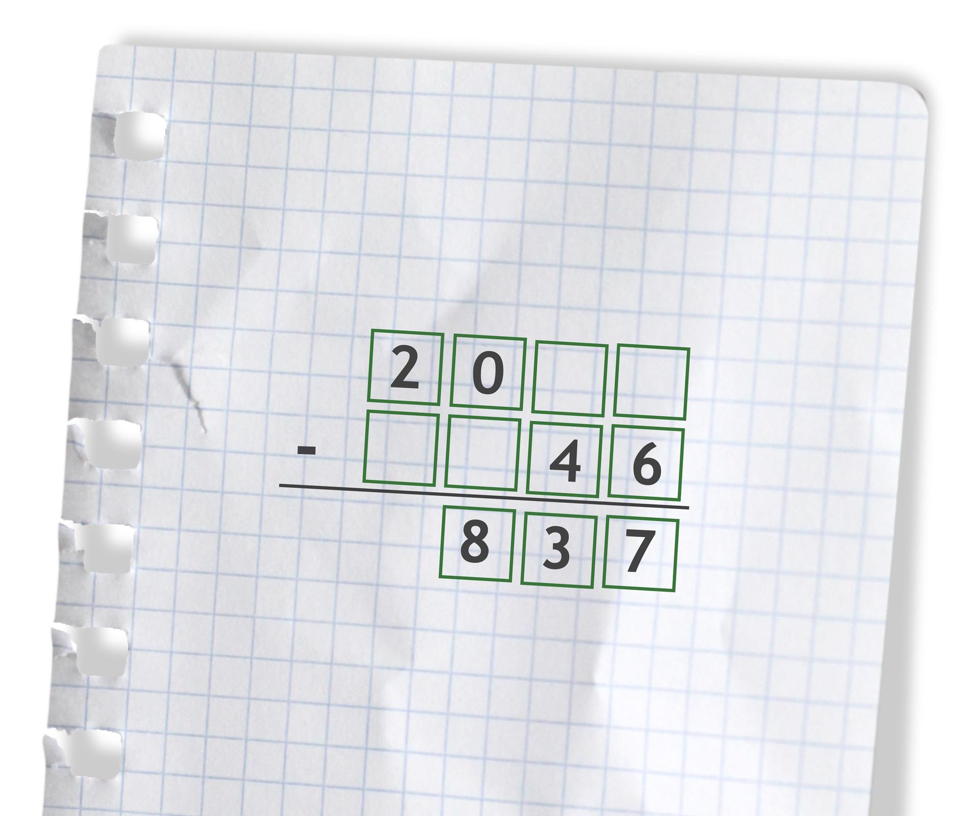 Przykład - puste miejsca do uzupełnienia cyframi: 20 puste puste odjąć puste puste 46 =837.