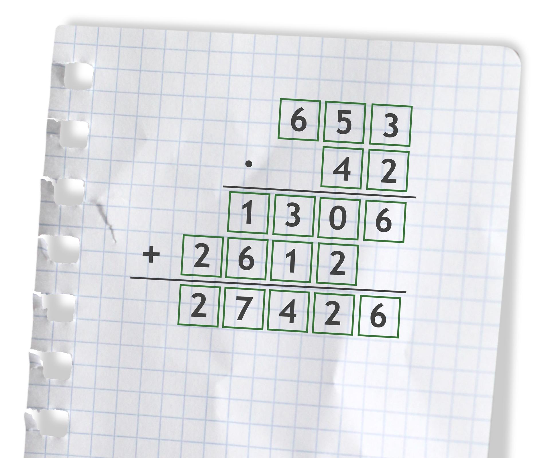 Przykład: 653 razy 42 =27426. Rozwiązanie zadania podpunkt c.