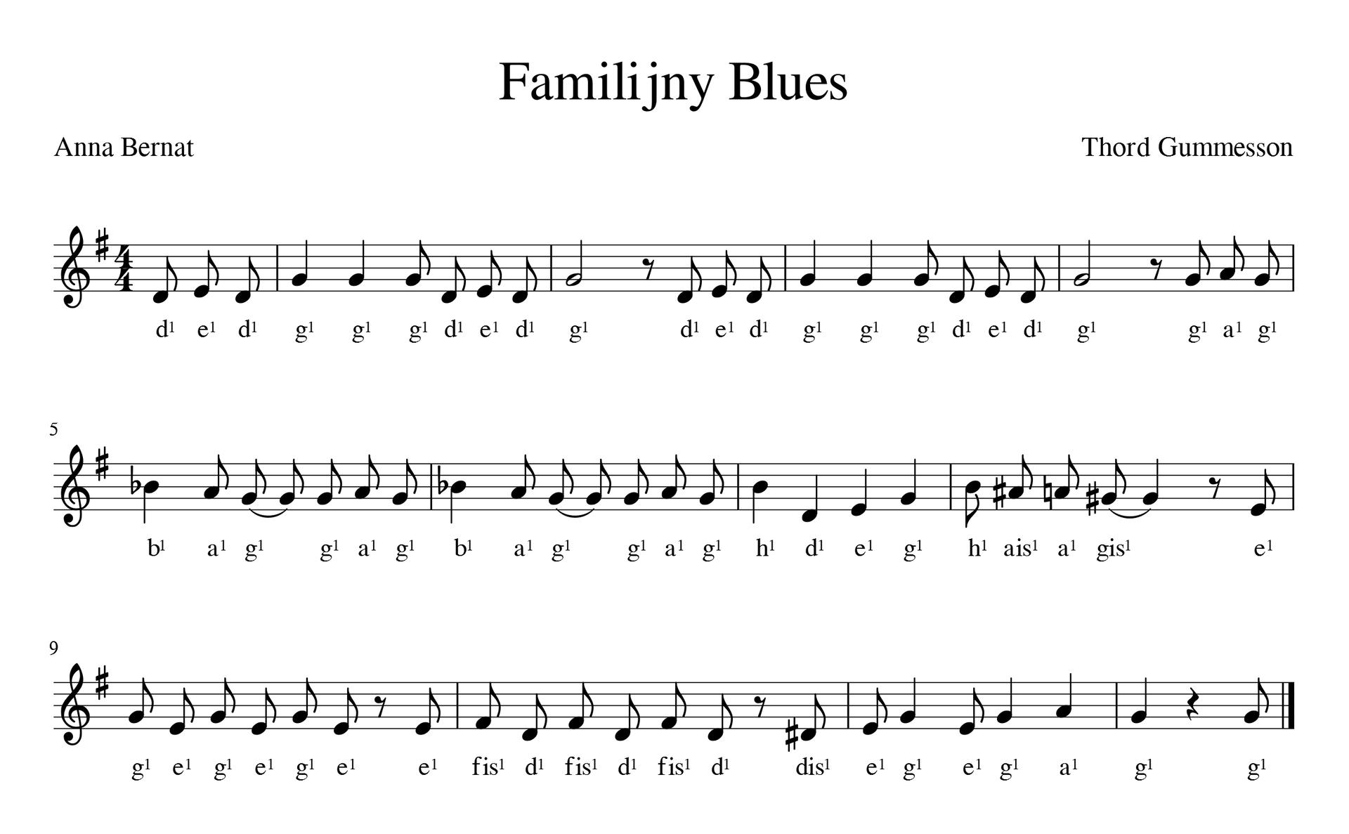 Zapis nutowy piosenki familijny blues. Piosenka wtonacji G-dur wmetrum cztery czwarte. Utwór rozpoczyna się przedtaktem składającym się ztrzech ósemek. Pod nutami podpisano nazwy dźwięków są to: dedgggdedg, dedgggdedg, gagbaggagbaggaghdeghais agis egegegeefis dfis dfis d, dis egegagg.