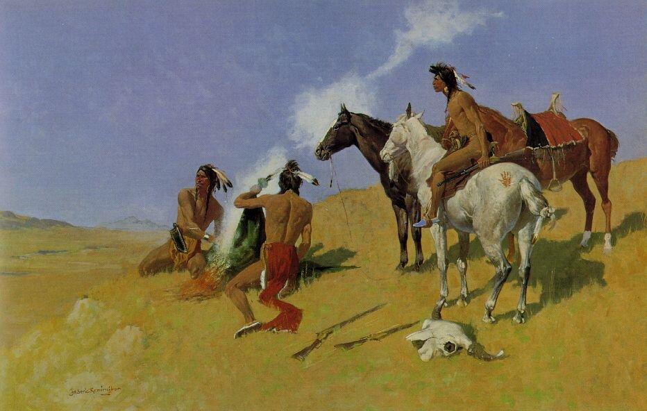 Ilustracja przedstawiająca Indian przy dymiącym ognisku