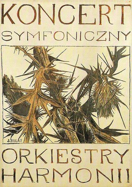 Plakat Koncertu Symfonicznego Orkiestry Harmonii Ilustracja 2 Źródło: Jan Bulas, Plakat Koncertu Symfonicznego Orkiestry Harmonii, 1910, litografia barwna, domena publiczna.