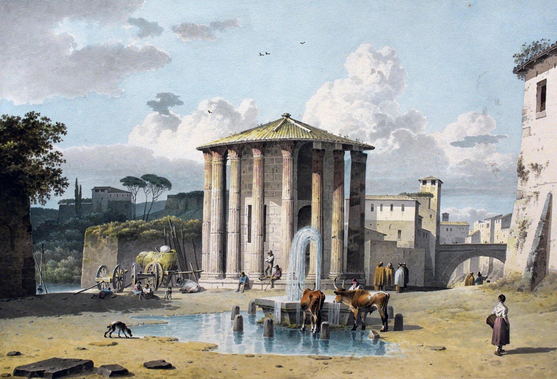 """Obraz Josephusa Augustusa Knipa przedstawia pracę pt. """"Świątynia Westy wRzymie"""", na którym zaprezentowano ludność miejską oraz zwierzęta nieopodal świątyni Westy. Na pierwszym planie widoczne są dwie krowy oraz pies, pijące wodę zfontanny oraz kobieta, która przygląda się zwierzętom. Na drugim planie widoczne są dwa wozy, wtym jeden zsianem. Dookoła świątyni Westy znajdują się odpoczywający pod kolumnadą rolnicy. Obok budynku znajdują się ubrani wpłaszcze rozmawiający ze sobą ludzie. Wtle widoczne jest miasto, drzewa, oraz para mieszkańców spacerująca ulicami. Zlewej strony obrazu widoczne są ciemne chmury."""