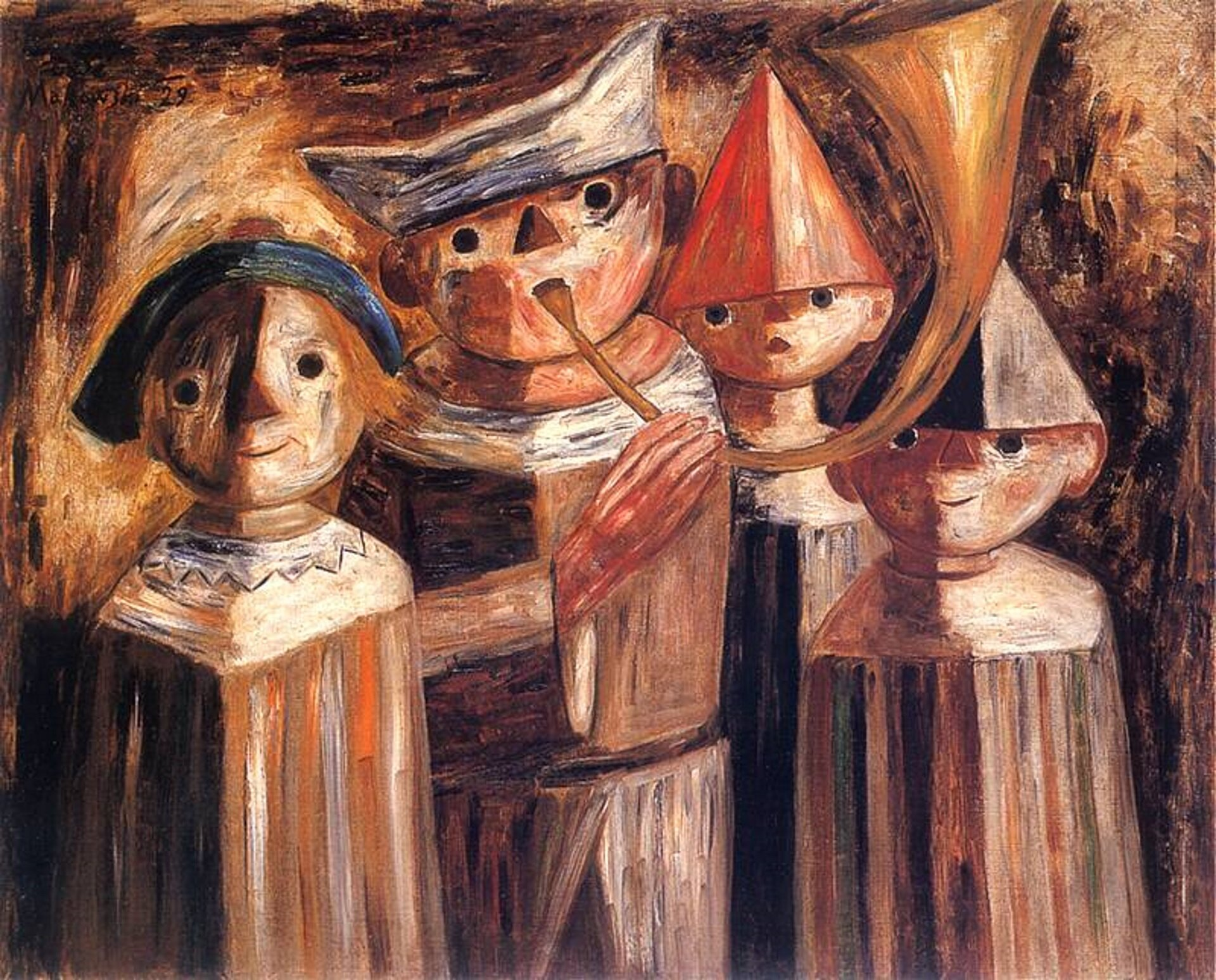 """Ilustracja przedstawia obraz pt. """"Czworo dzieci ztrąbą"""" autorstwa Tadeusza Makowskiego. Dzieło ukazuje czterech chłopców, którzy mają nakrycia głowy. Jeden znich gra na trąbie. Chłopcy maja tułów kanciasty."""