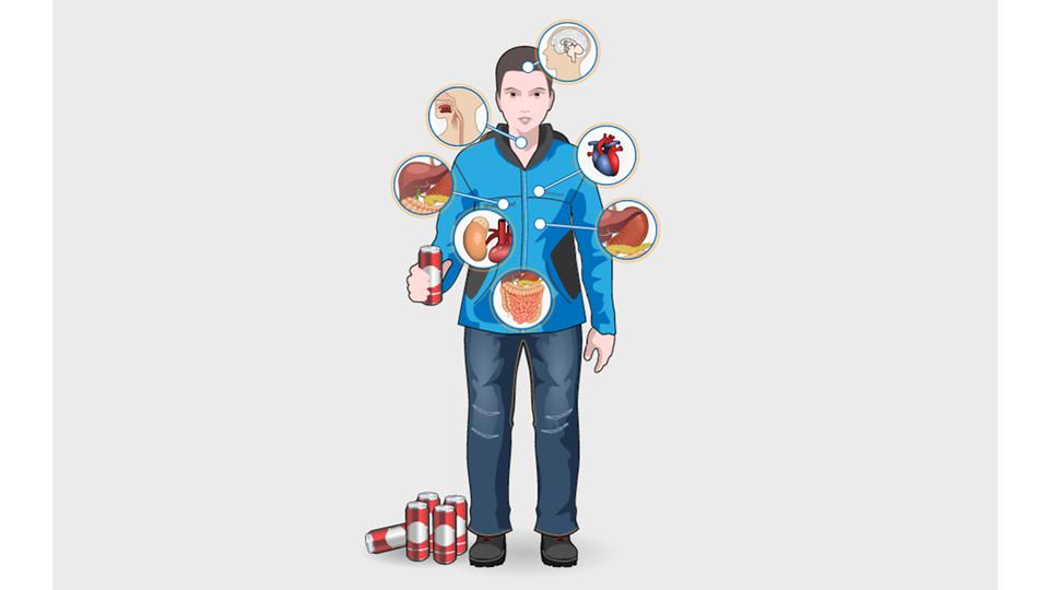 Aplikacja interaktywna. Przedstawia postać młodego człowieka wniebieskiej bluzie igranatowych spodniach zczerwoną puszką wręce. Po lewej stronie na ziemi stoi jeszcze pięć puszek. Zaznaczono mózg, serce, żołądek, jelita, nerkę, wątrobę iprzełyk. Poszczególne narządy widoczne wokrągłych powiększeniach wokół postaci. Po kliknięciu wwybrane powiększenie pojawia się informacja owpływie alkoholu na konkretny narząd. Przy sercu ponadto na niebieskim tle rozwija się informacja owpływie alkoholu na zmiany wpsychice.