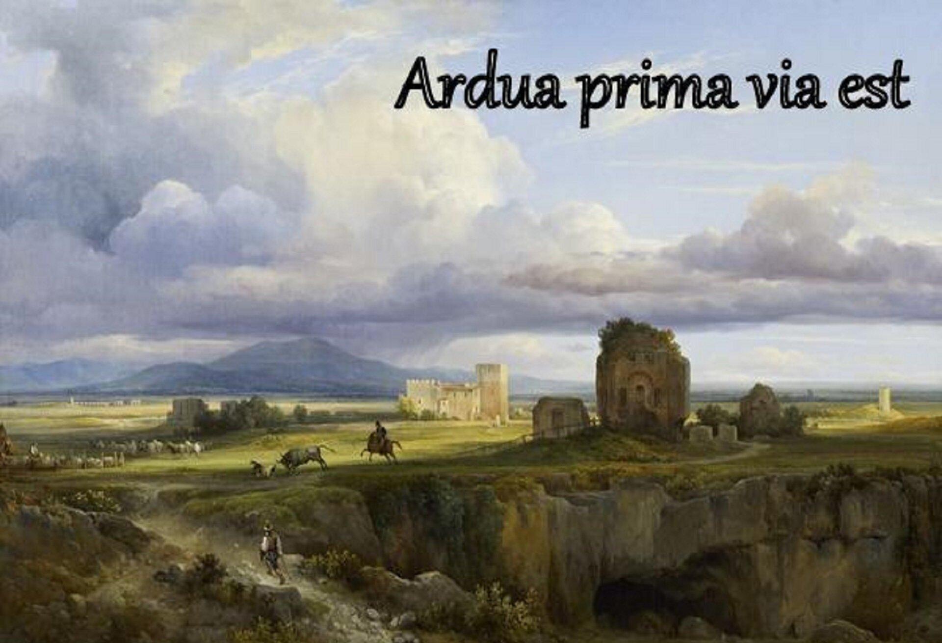 """Obraz Jacquesa Raymonda Brascassata pt. """"La Via Appia"""", przedstawia widok na via Appię – najstarszy trakt rzymski. Na pierwszym planie znajduje się mężczyzna ubrany wkapelusz, biało-brązową koszulę oraz czarne spodnie. Mężczyzna wchodzi na wzgórze, na którym znajduje się żołnierz na koniu, byk, awoddali owce wraz zpasterzem. Zprawej strony widoczne są ruiny budynków. Wtle widoczna jest góra, nad którą gromadzą się burzowe chmury. Zprawej strony obrazu widnieje napis: Ardua prima via est."""