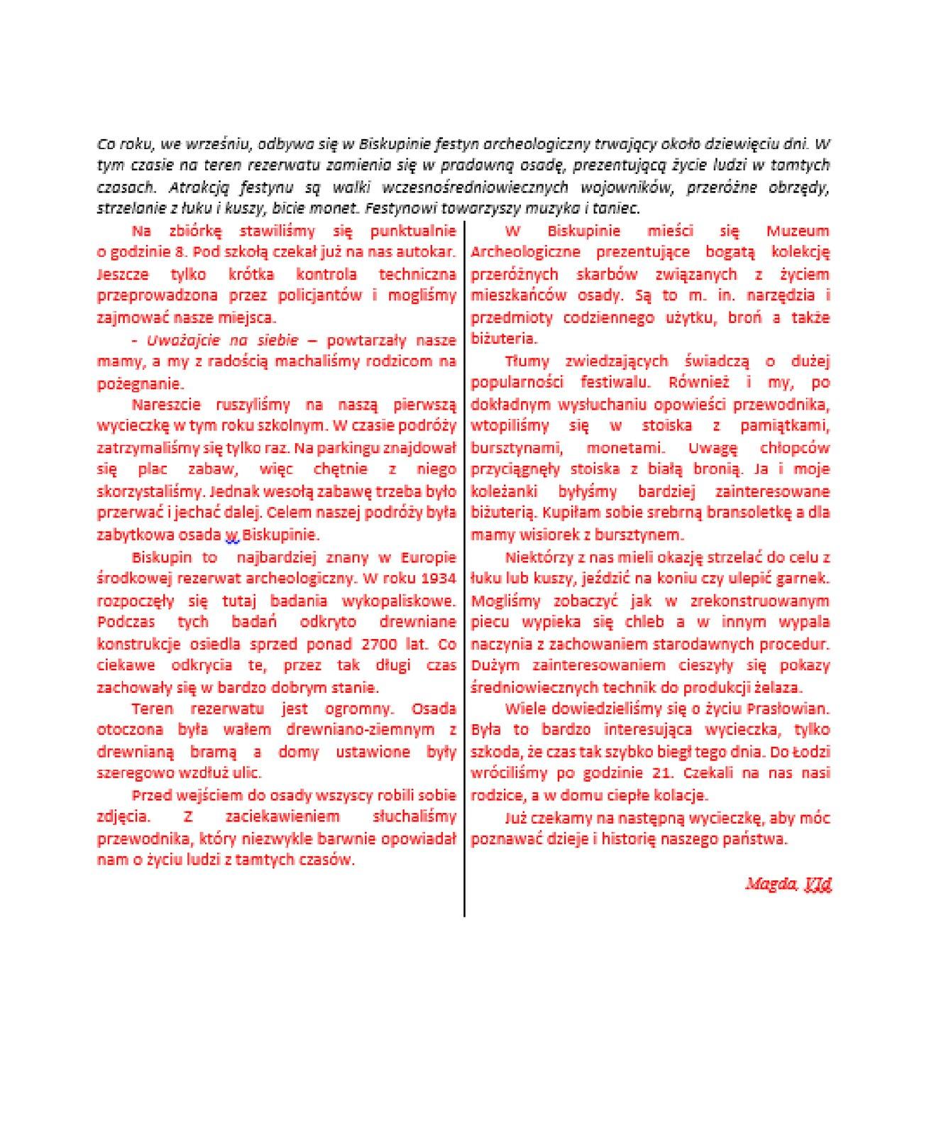 Zrzut dokumentu ztekstem podzielonym na dwie kolumny