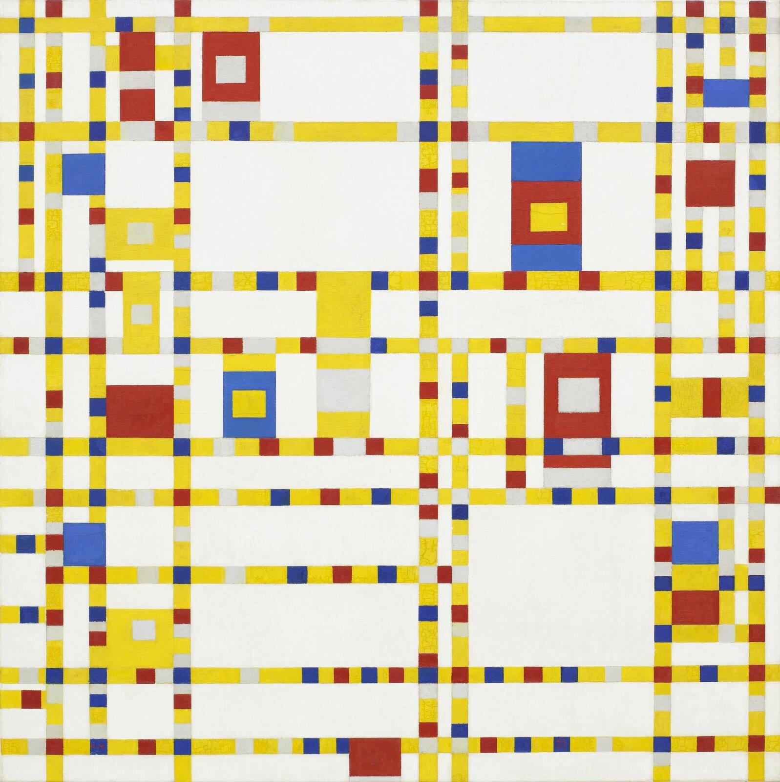 """Ilustracja przedstawia obraz olejny """"Broadway Boogie Woogie"""" autorstwa Piet Mondrian. Abstrakcyjna kompozycja składa się zmałych, żółtych, czerwonych, białych oraz granatowych kwadratów iprostokątów, ułożonych wpoziome atakże pionowe pasy na białym tle. Między nimi znajdują się większe prostokątne kształty wtych samych kolorach. Składowe elementy obrazu rozproszone są na całej powierzchni jakby przypadkowo. Artysta zastosował tutaj kompozycję otwartą – łatwo jesteśmy wstanie sobie wyobrazić dalszą kompozycję poza kadrem płótna."""