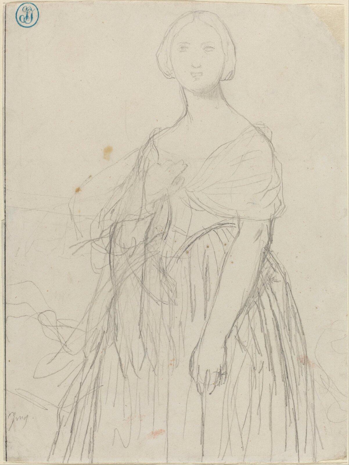 """Ilustracja przedstawia """"Portret Madame Moitessier"""" autorstwa Jeana-Augustea-Dominiquea Ingresa. Dzieło ukazuje rysunek ołówkiem na pożółkłym papierze. Artysta luźną kreską narysował damę wsukni zzarzuconym na ramionach szalem. Wgórnym-lewym rogu znajduje się niebieska pieczęć zzinicjałami Ingresa. Rysunek skomponowany jest statycznie, postać kobiety znajduje się wjego centrum."""