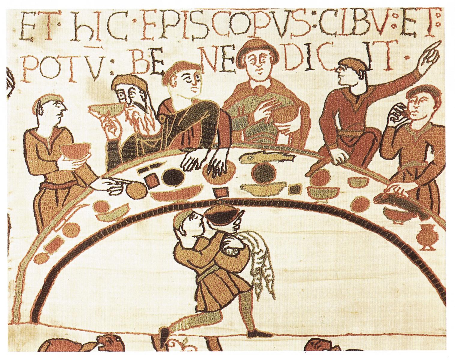 Biesiada przedstawiona na Tkaninie zBayeaux Biesiada przedstawiona na Tkaninie zBayeaux Źródło: około 1070 roku, domena publiczna.