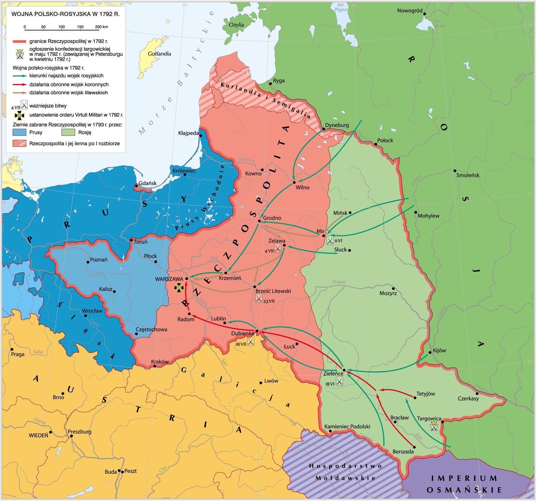 Wojna polsko-rosyjska w1792 r. Źródło: Krystian Chariza izespół, Wojna polsko-rosyjska w1792 r., licencja: CC BY 3.0.